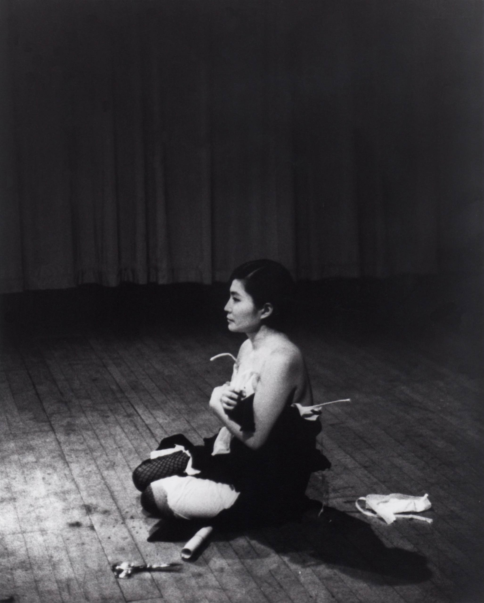 <i>Cut Piece</i>, 1964, performed by Yoko Ono in <i>New Works of Yoko Ono</i> at the Carnegie Recital Hall in New York on March 21, 1965.