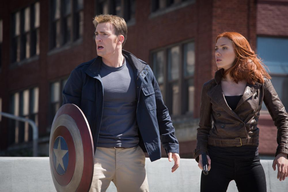 Chris Evans and Scarlett Johansson in 'CAPTAIN AMERICA: THE WINTER SOLDIER.'