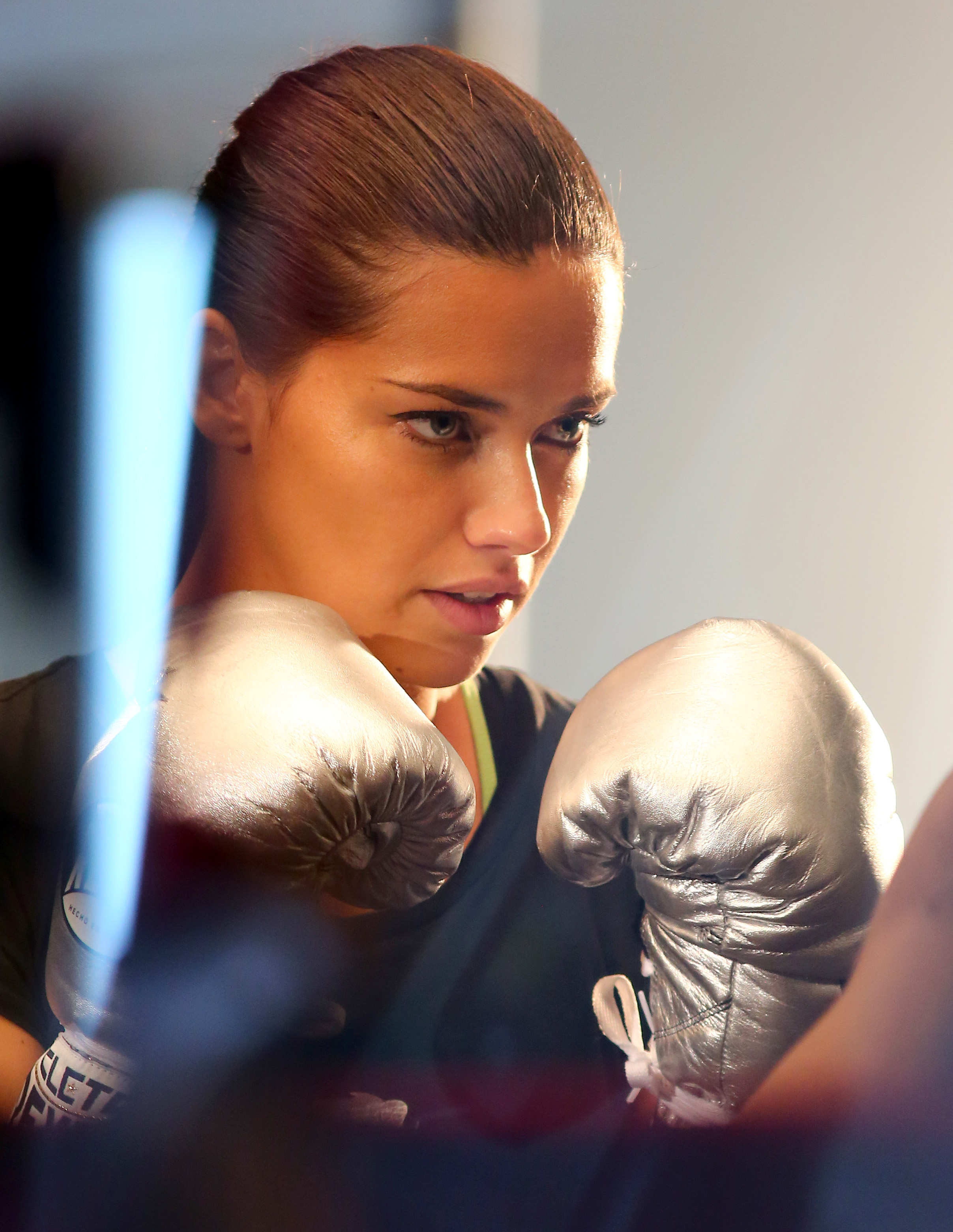 Adriana Lima spotted at the gym today in NYC boxing with her trainer.