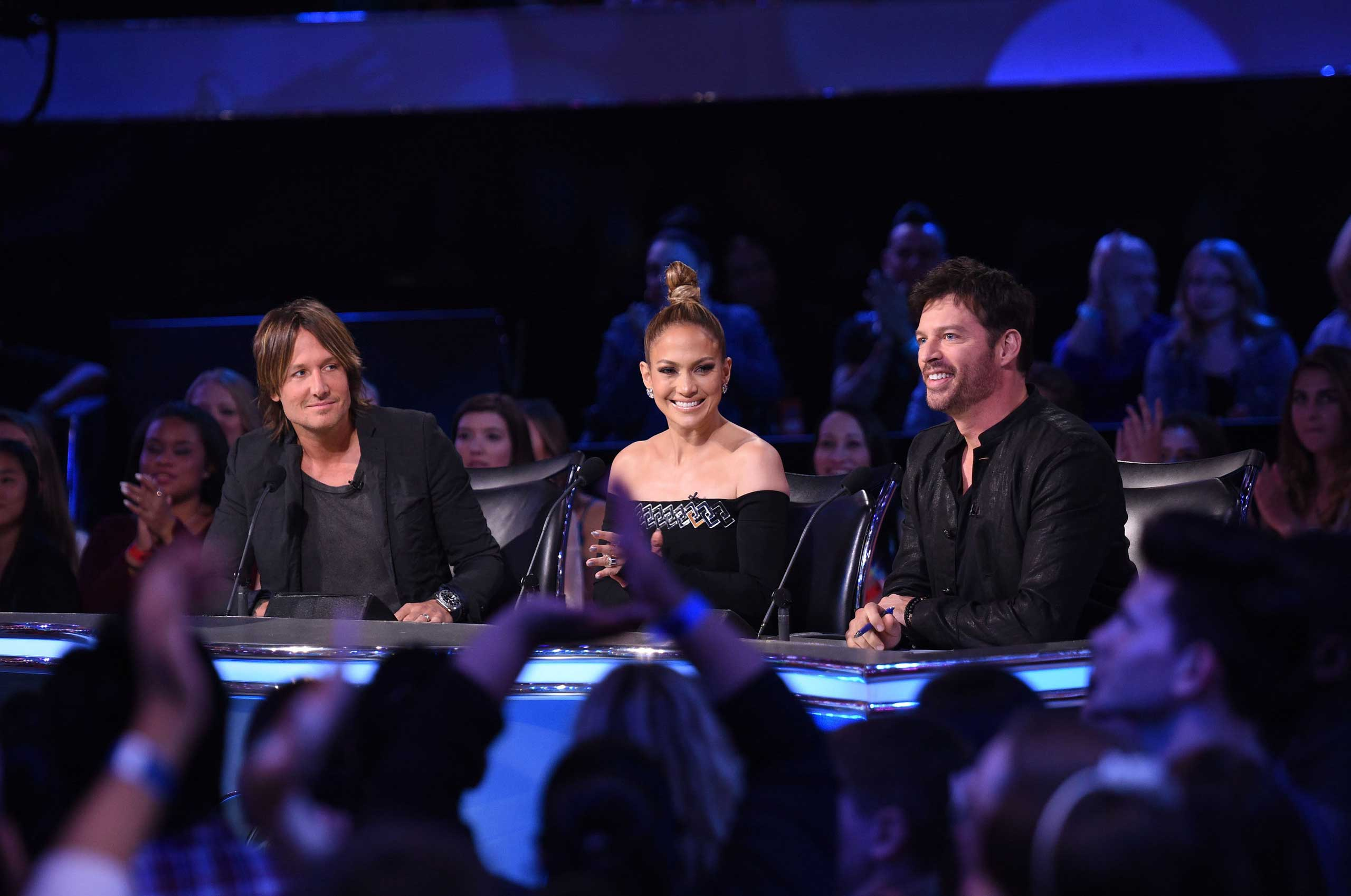 Keith Urban, Jennifer Lopez and Harry Connick, Jr, on American Idol XIV airing Wednesday, April 8, 2015.