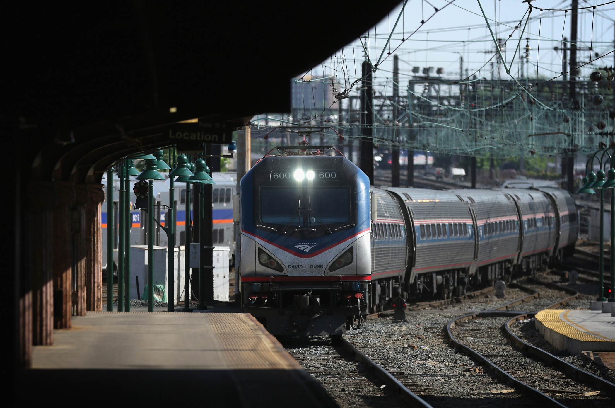 An Amtrak train arrives at Union Station on May 18, 2015 in Washington.