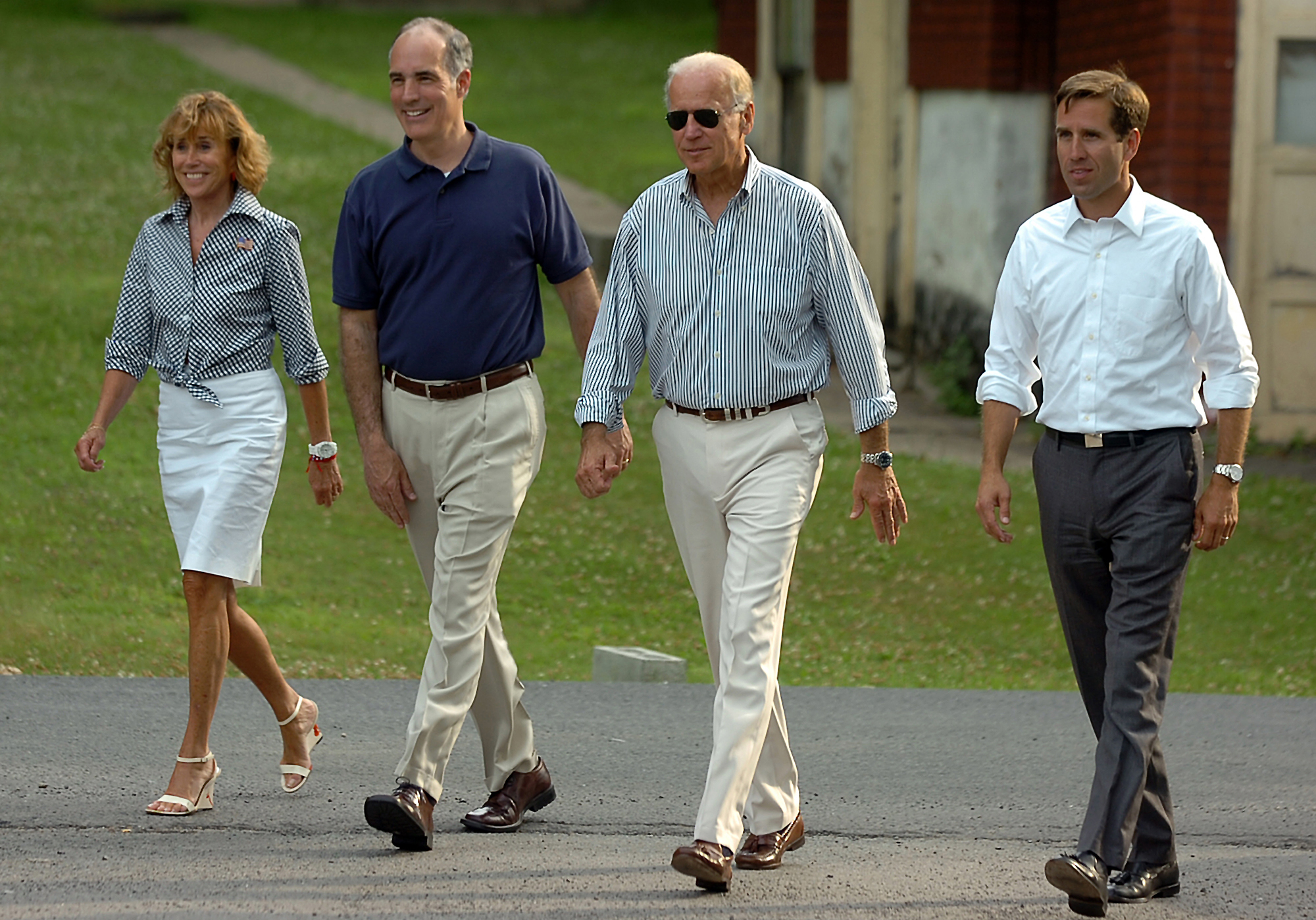 Vice President Joe Biden walks with his sister, Valerie Biden Owens, Pennsylvania Senator Bob Casey, second left, and his son, Beau Biden, Delaware Attorney General, during a visit to Scranton, Pa., on July 3, 2012.