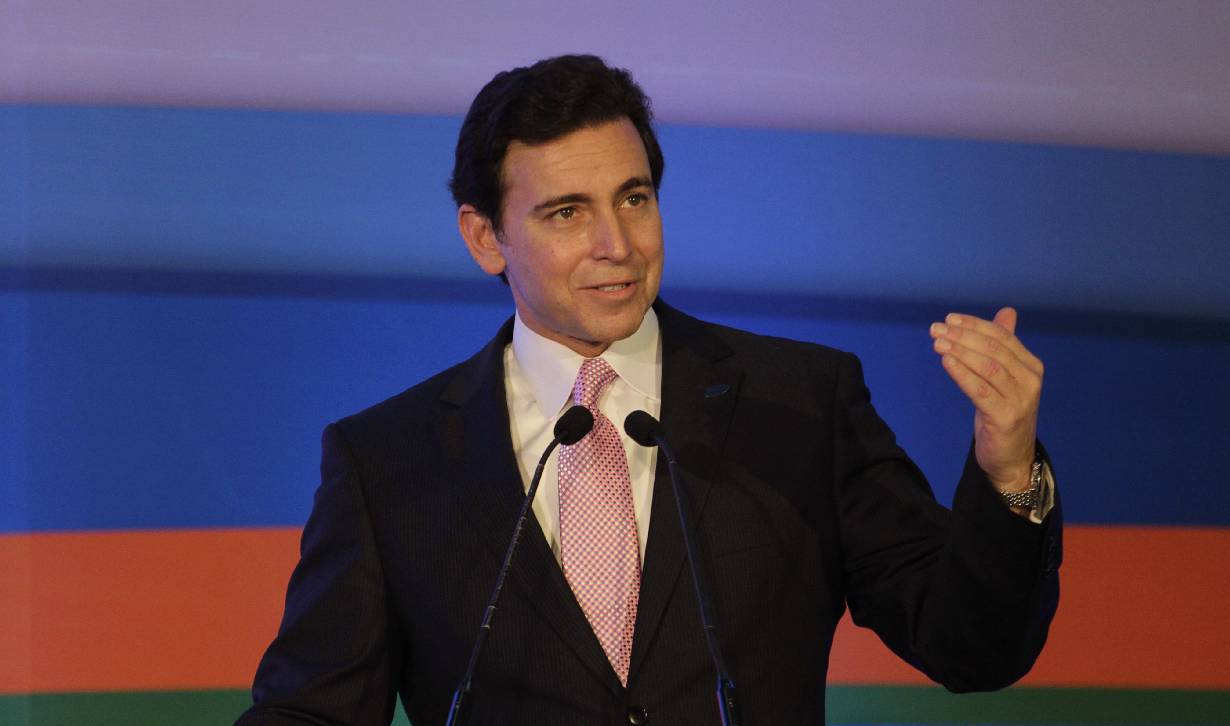 Ford President and CEO Mark Fields speaks at Ford's manufacturing facility and engineering plant in Sanand, India on March 26, 2015.