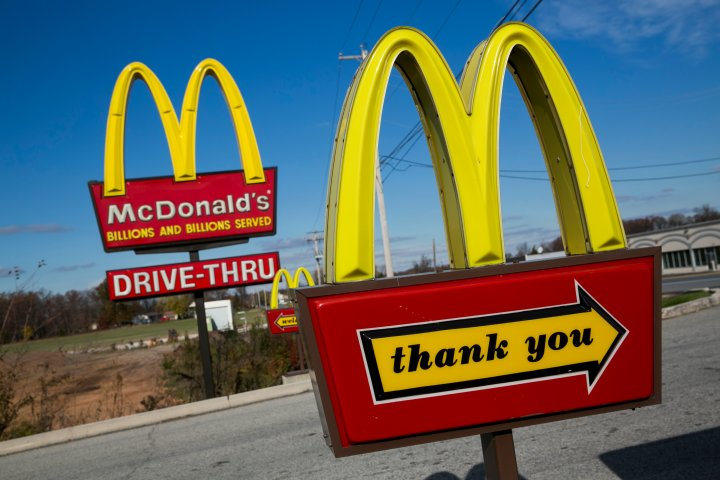 A McDonald's restaurant sign in Hanover, Pa. on Nov. 9, 2014.