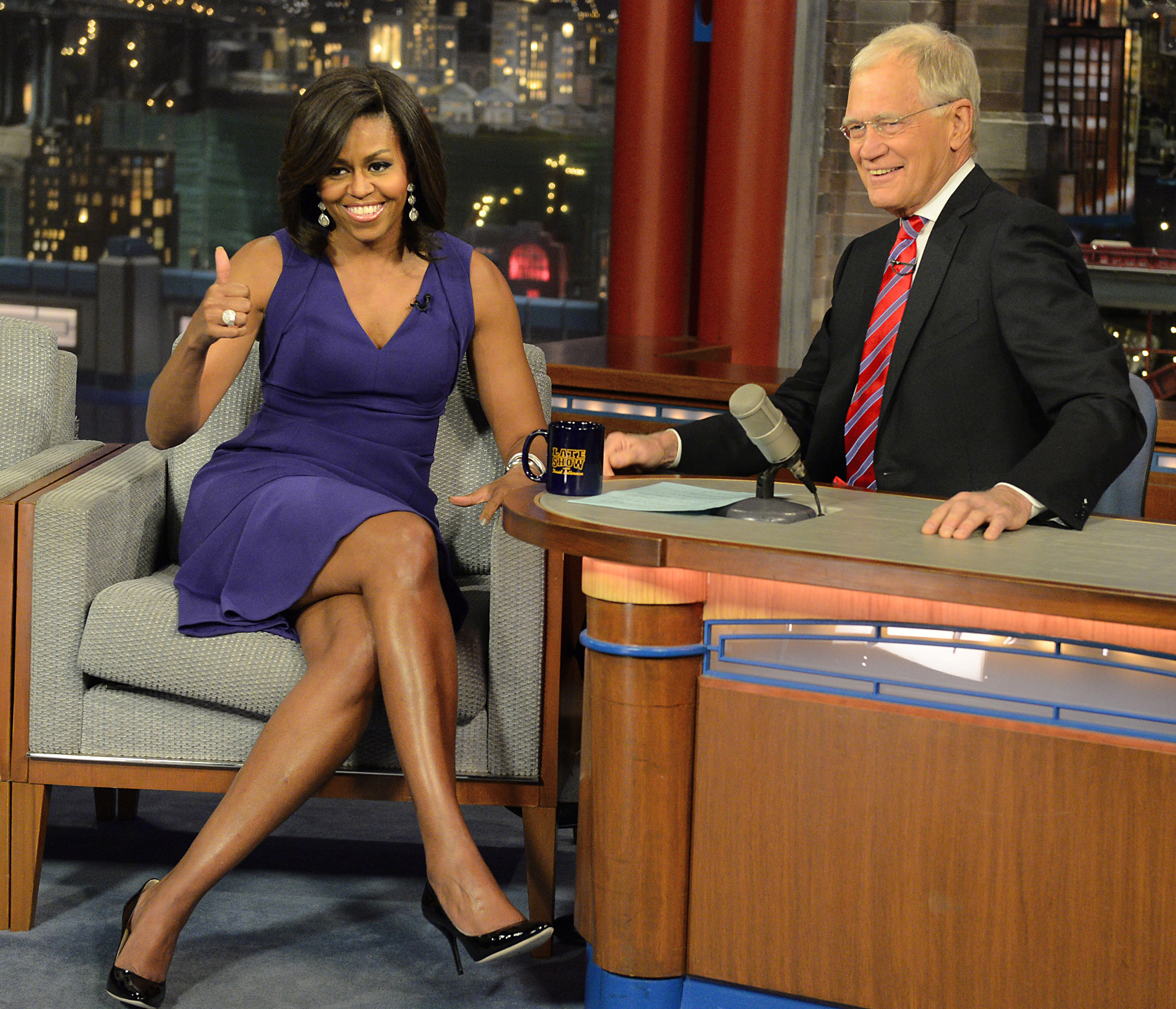 "First lady Michelle Obama and David Letterman on the set of  ""Late Show with David Letterman  in New York City on April 30, 2015."