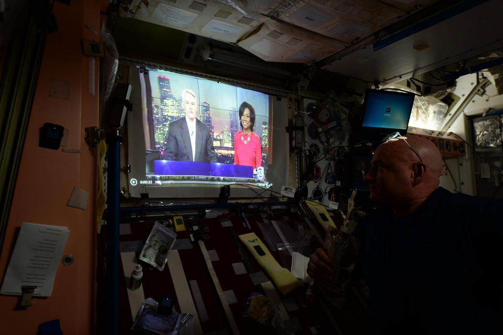 """Enjoying morning coffee with my friend @tomkochnews and @abc13houston aboard @Space_Station. #YearInSpace"" - <a href=""https://twitter.com/StationCDRKelly/status/594082637997875200"" target=""_blank"">via Twitter</a> on May 1, 2015"