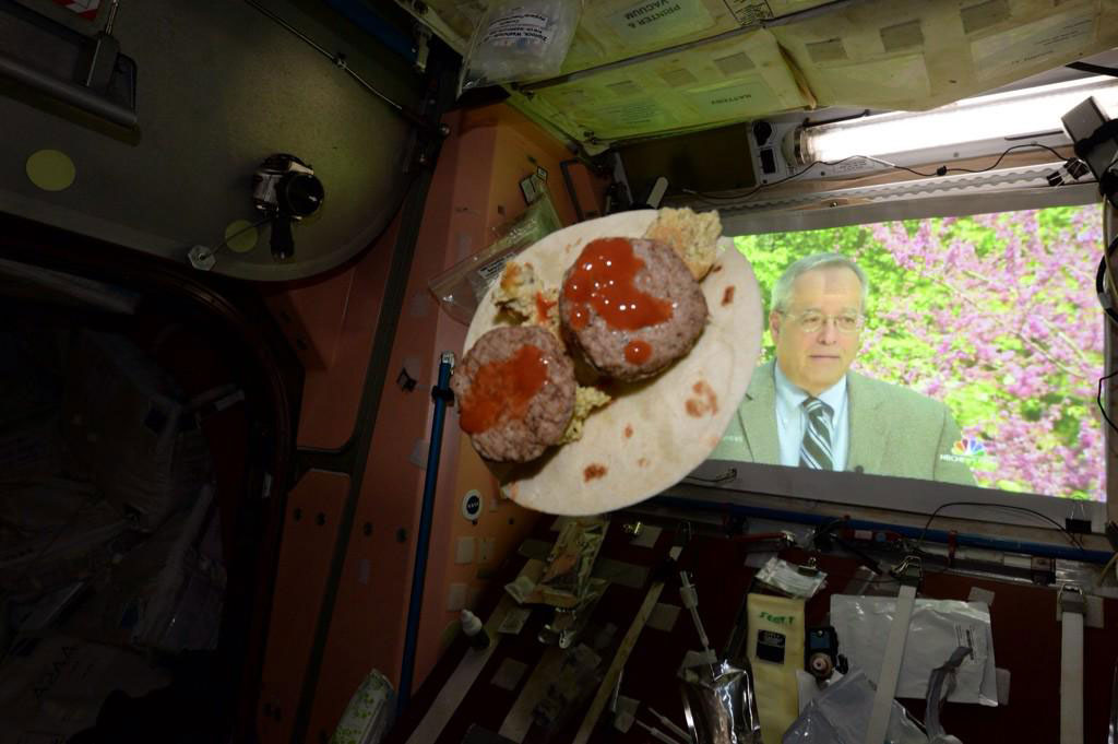 """Space taco w rehydrated eggs, sausage &amp; hot sauce on a tortilla. Happy #CincoDeMayo from @Space_Station #YearInSpace"" - <a href=""https://twitter.com/StationCDRKelly/status/595575252597387265"" target=""_blank"">via Twitter</a> on May 5, 2015"