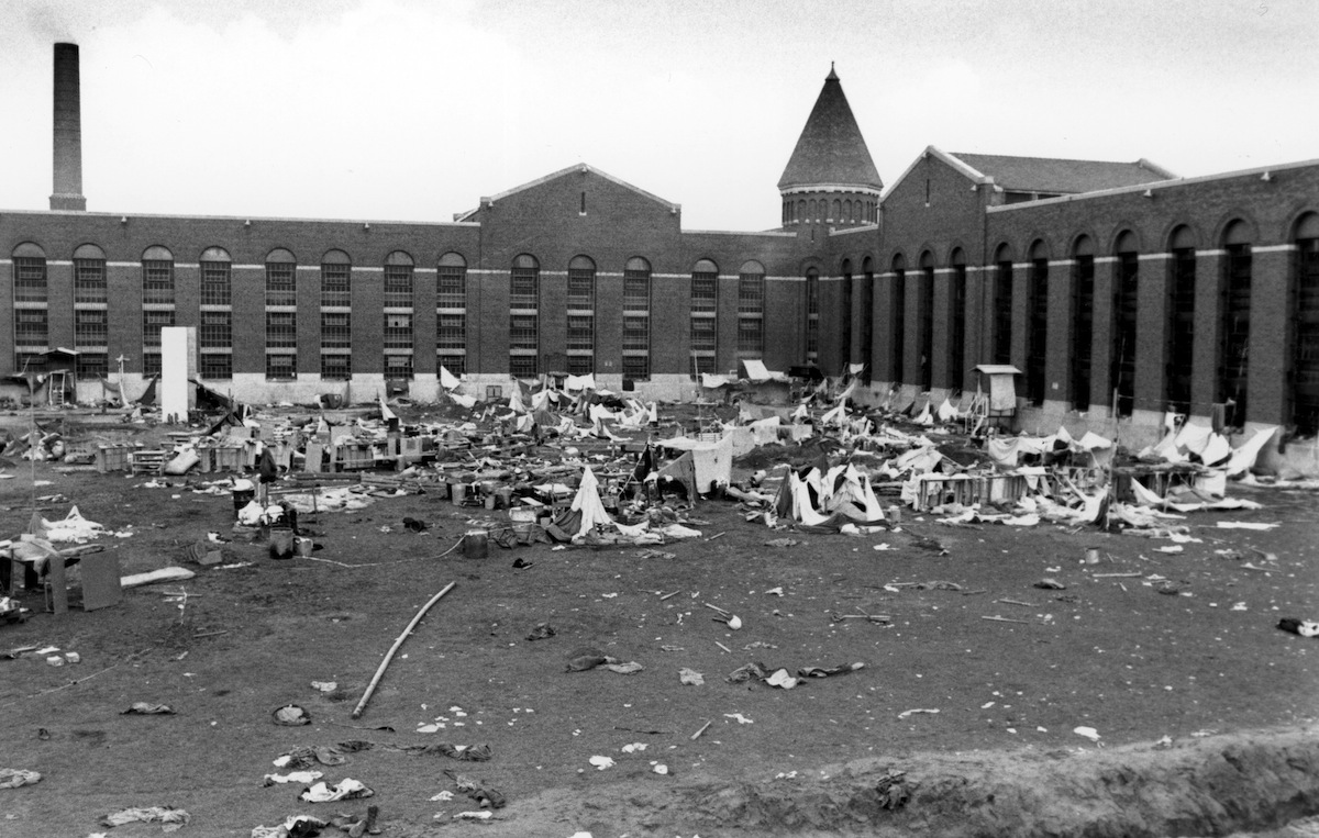 The vacant prison yard strewn with debris at the Attica State Correctional Facility in Attica, New York, on Sept. 14, 1971