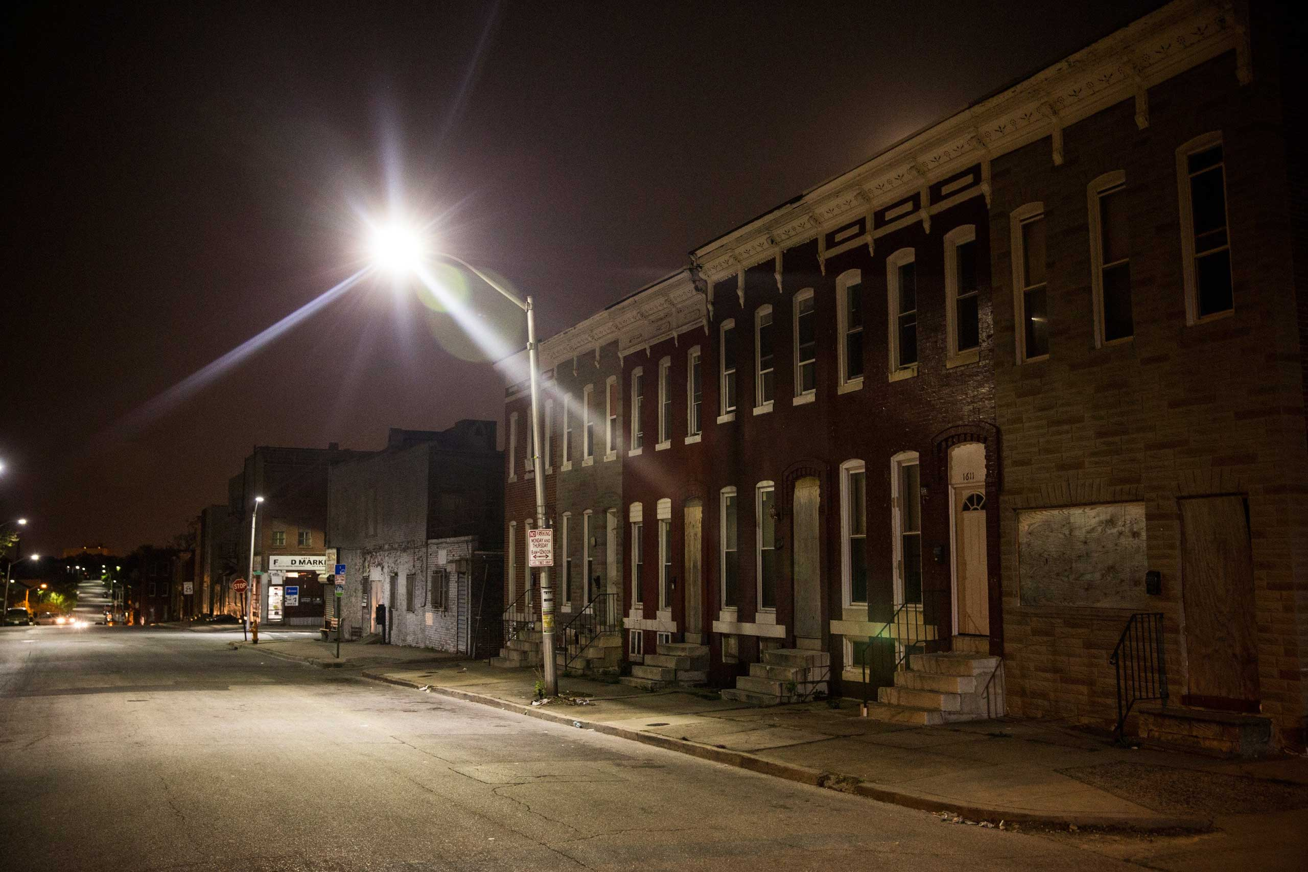 Abandoned row houses are shown in the Sandtown neighborhood where Freddie Gray was arrested, in Baltimore on May 3, 2015.