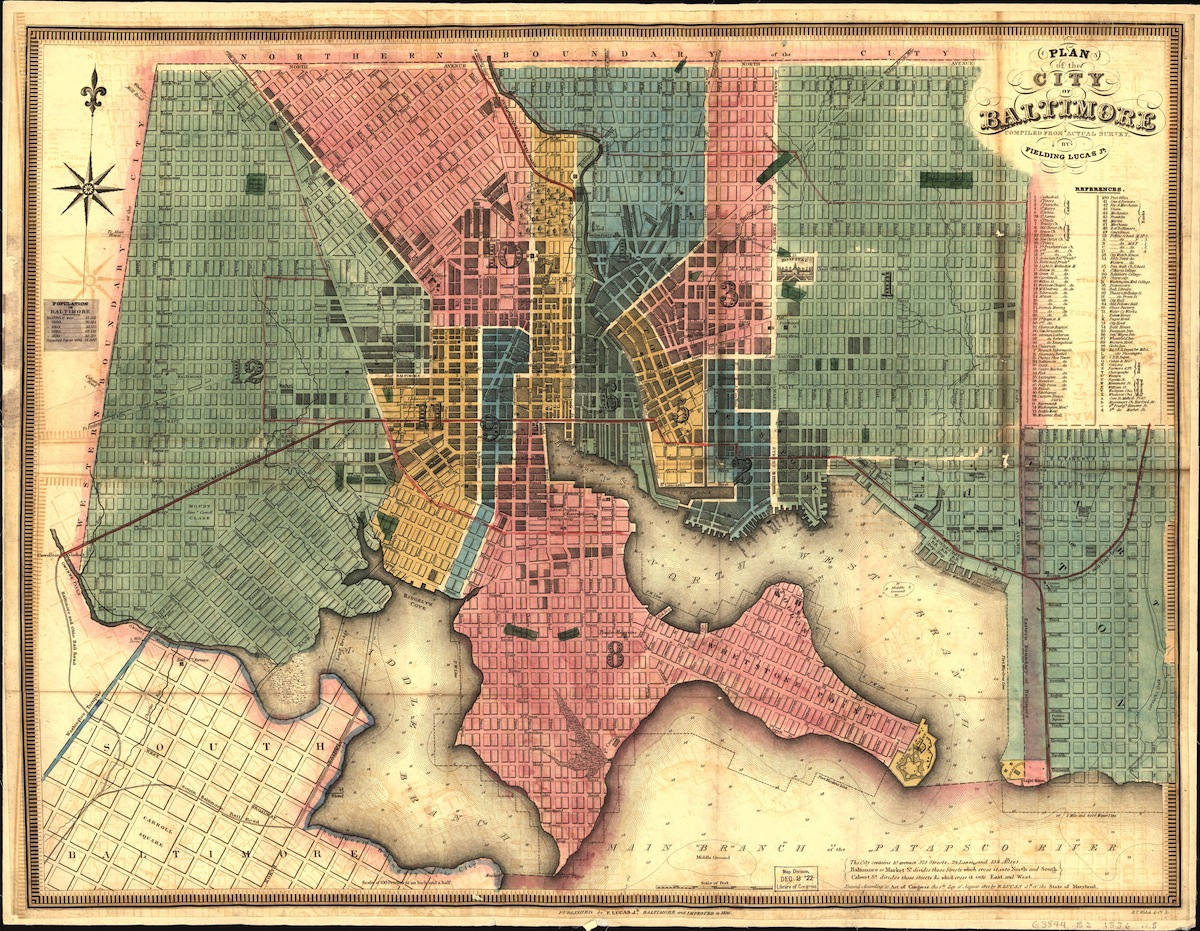 Street map (by Lucas Fielding) of Baltimore, Md., 1836.