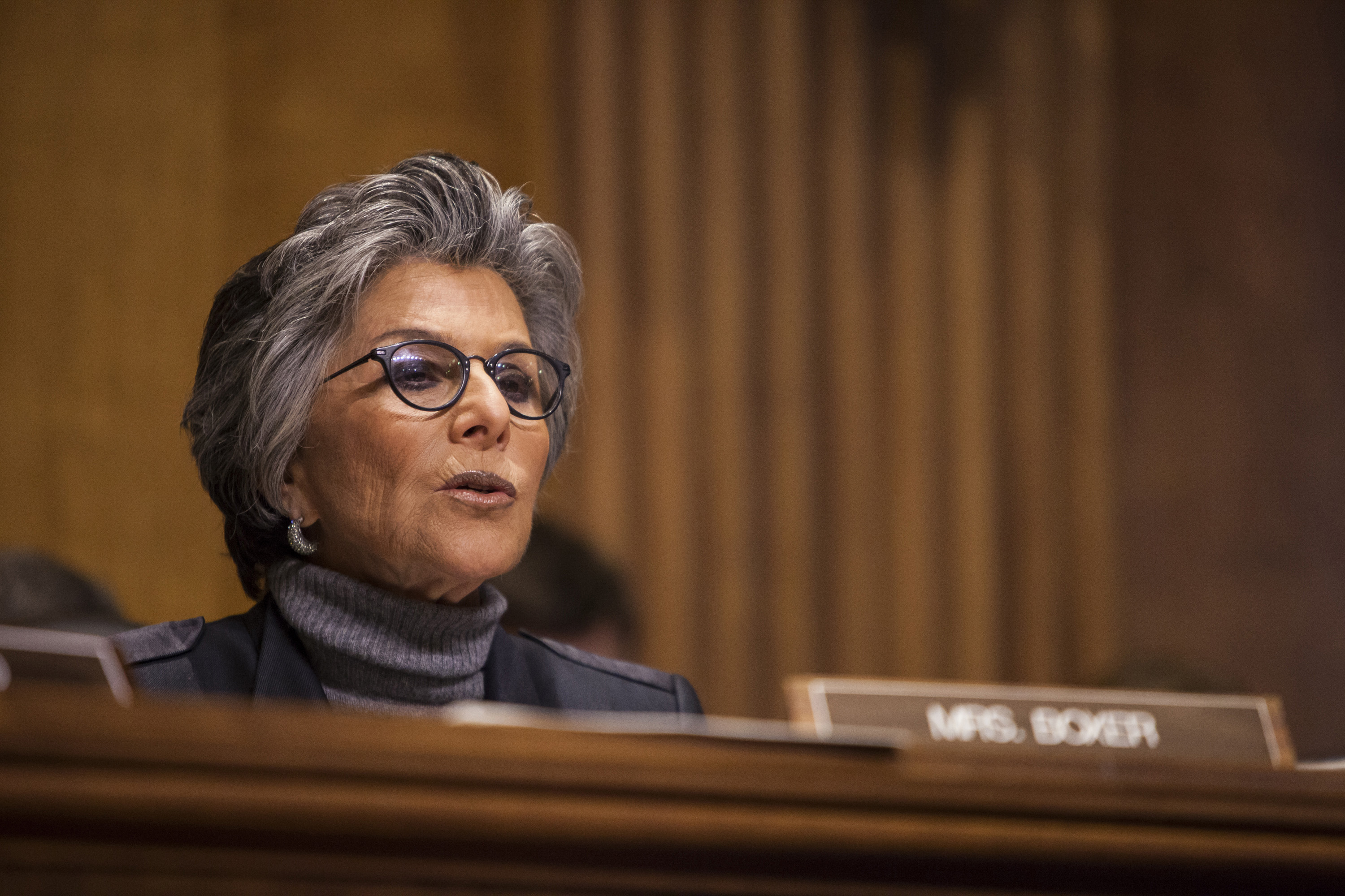 Senator Barbara Boxer speaks during a Senate Foreign Relations committee hearing on U.S. and Cuban relations in Washington on Feb.3, 2015.