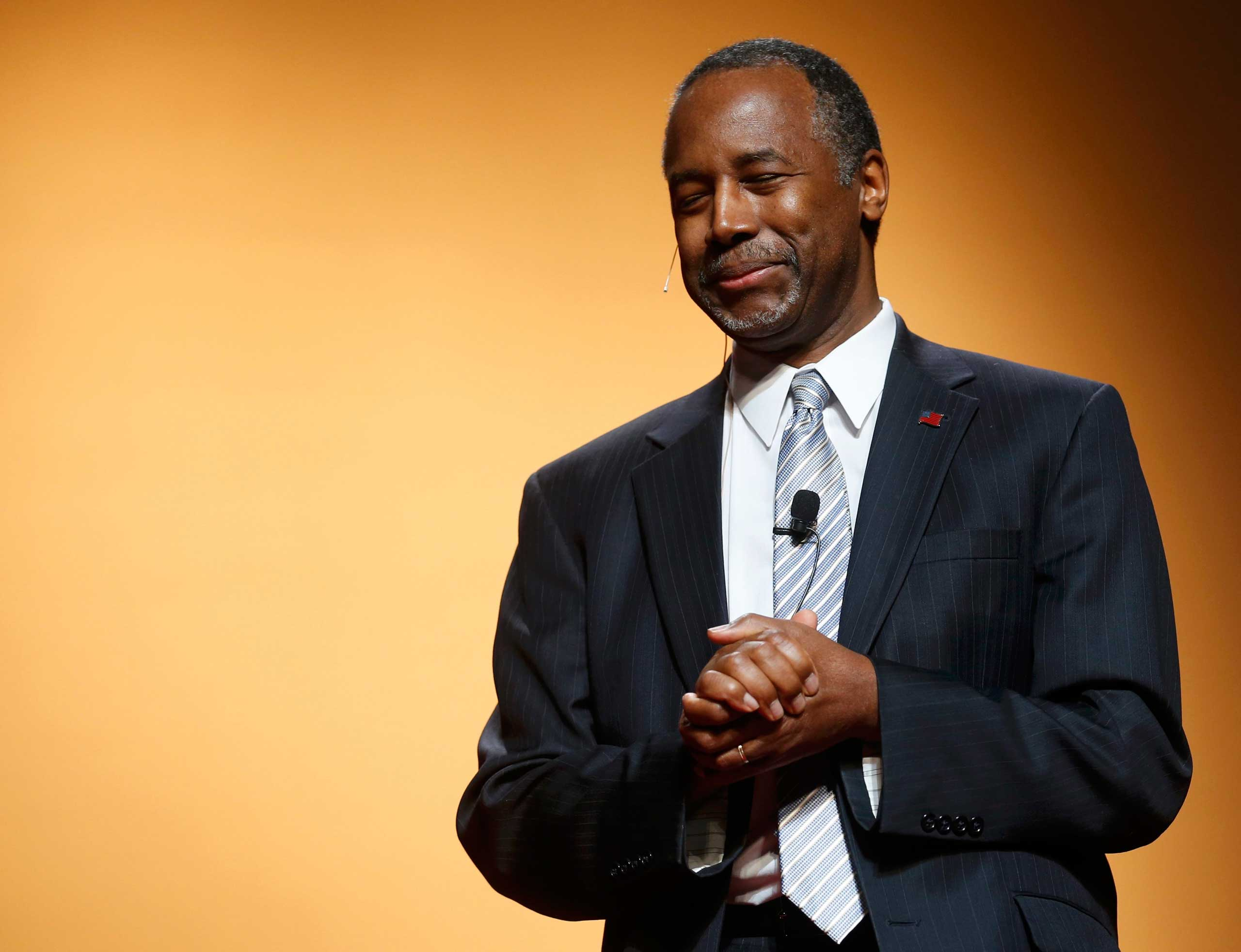 Republican U.S. presidential candidate and retired neurosurgeon Ben Carson officially launches his bid for the Republican presidential nomination in Detroit on May 4, 2015.