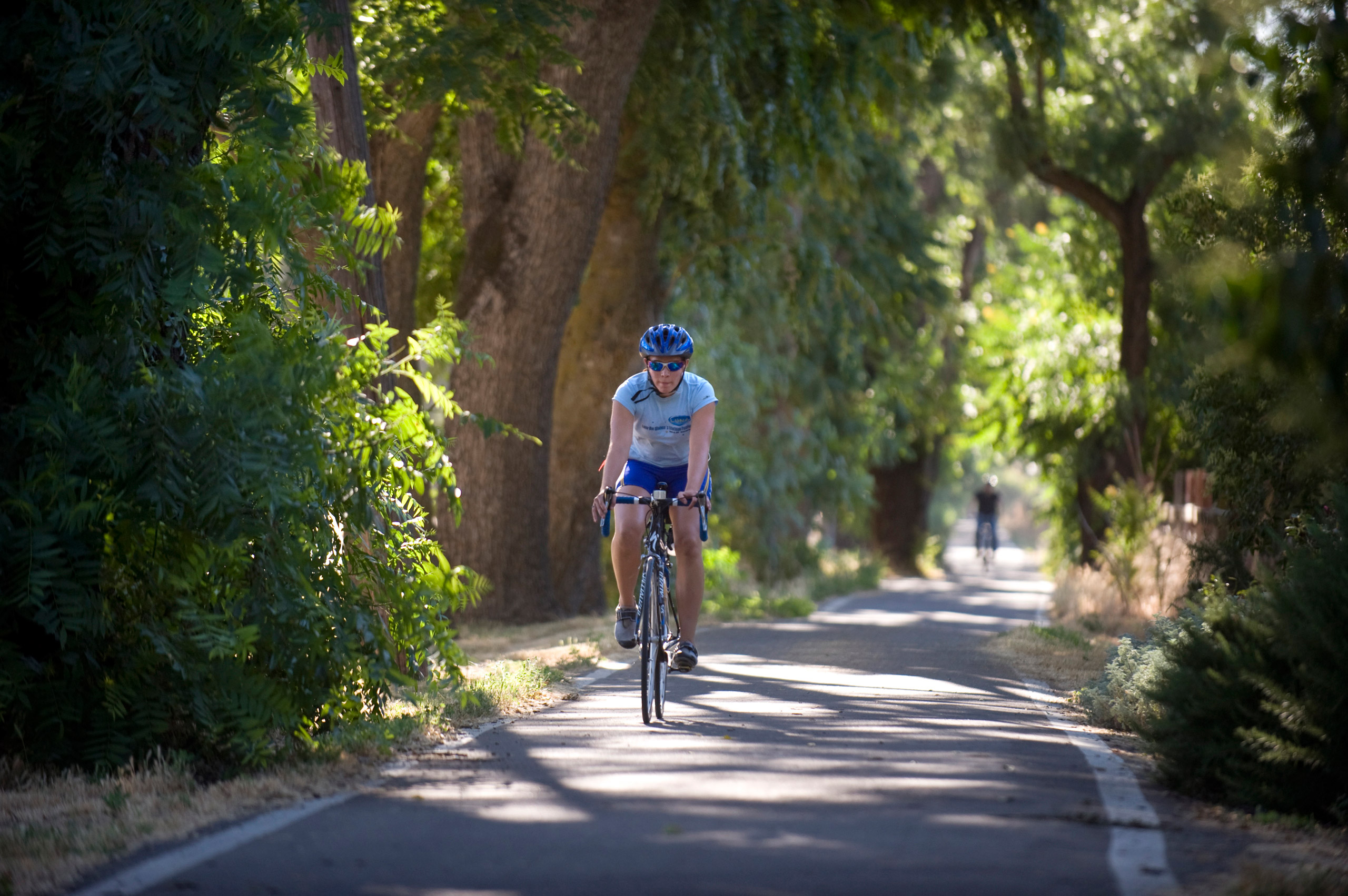 A bicyclist rides west on the bike trail which parallels Russell Boulevard in Davis, Calif., on June 30, 2010.