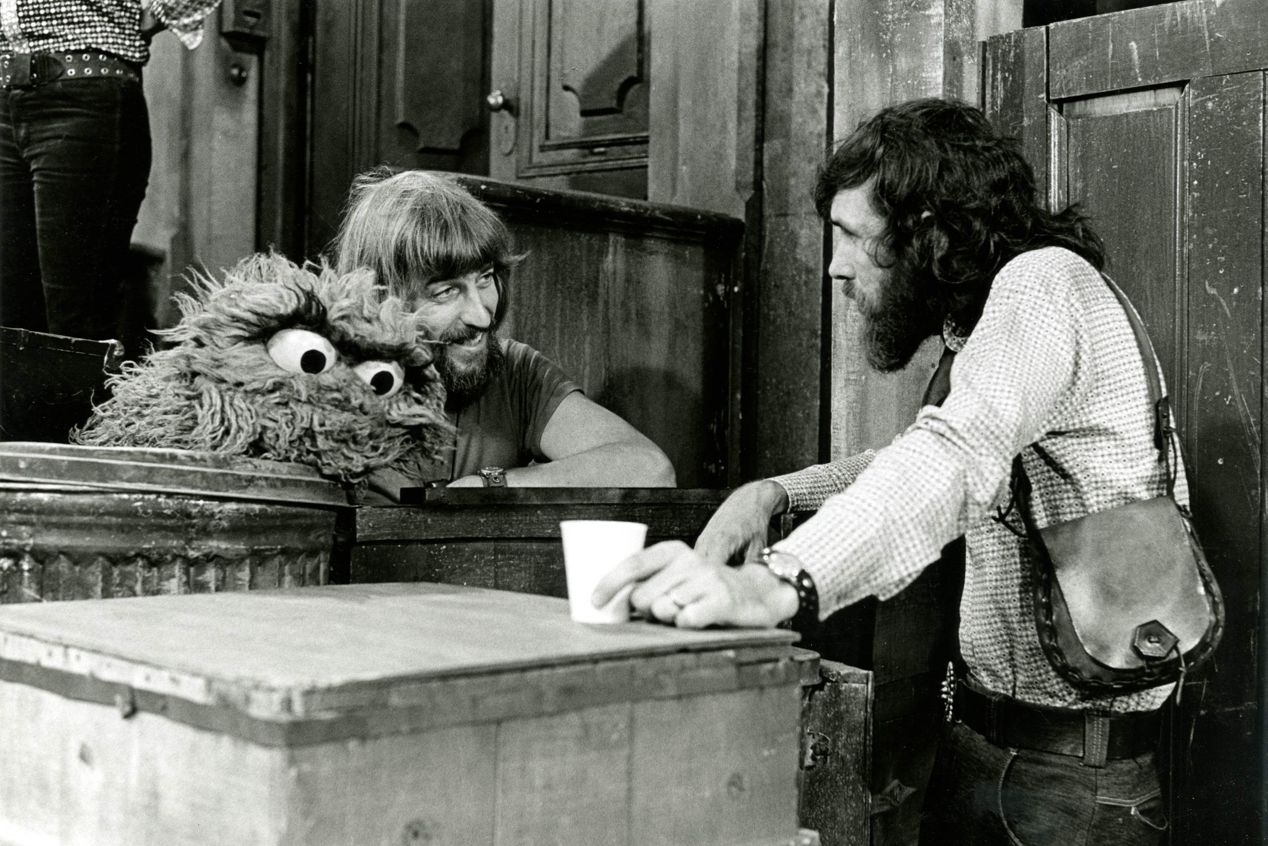 Caroll Spinney and Jim Henson are seen on the set of <i>Sesame Street</i> in 1969, the first year of the show.