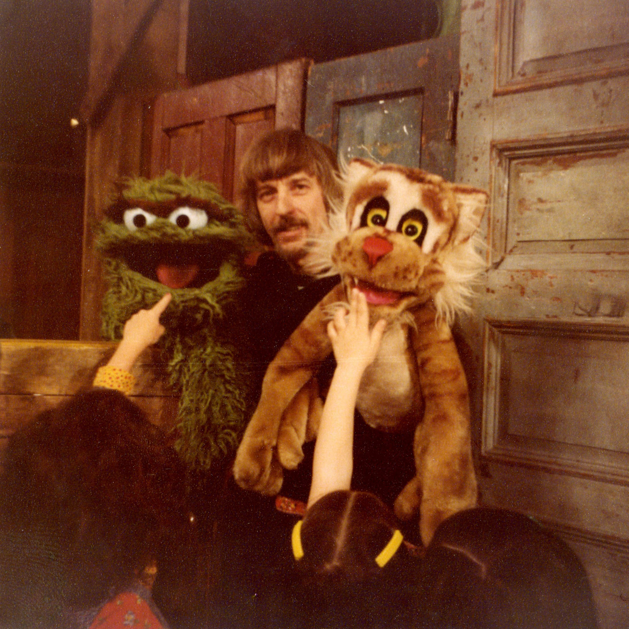 Caroll Spinney with Oscar the Grouch and Picklepuss, one of his first puppet creations.