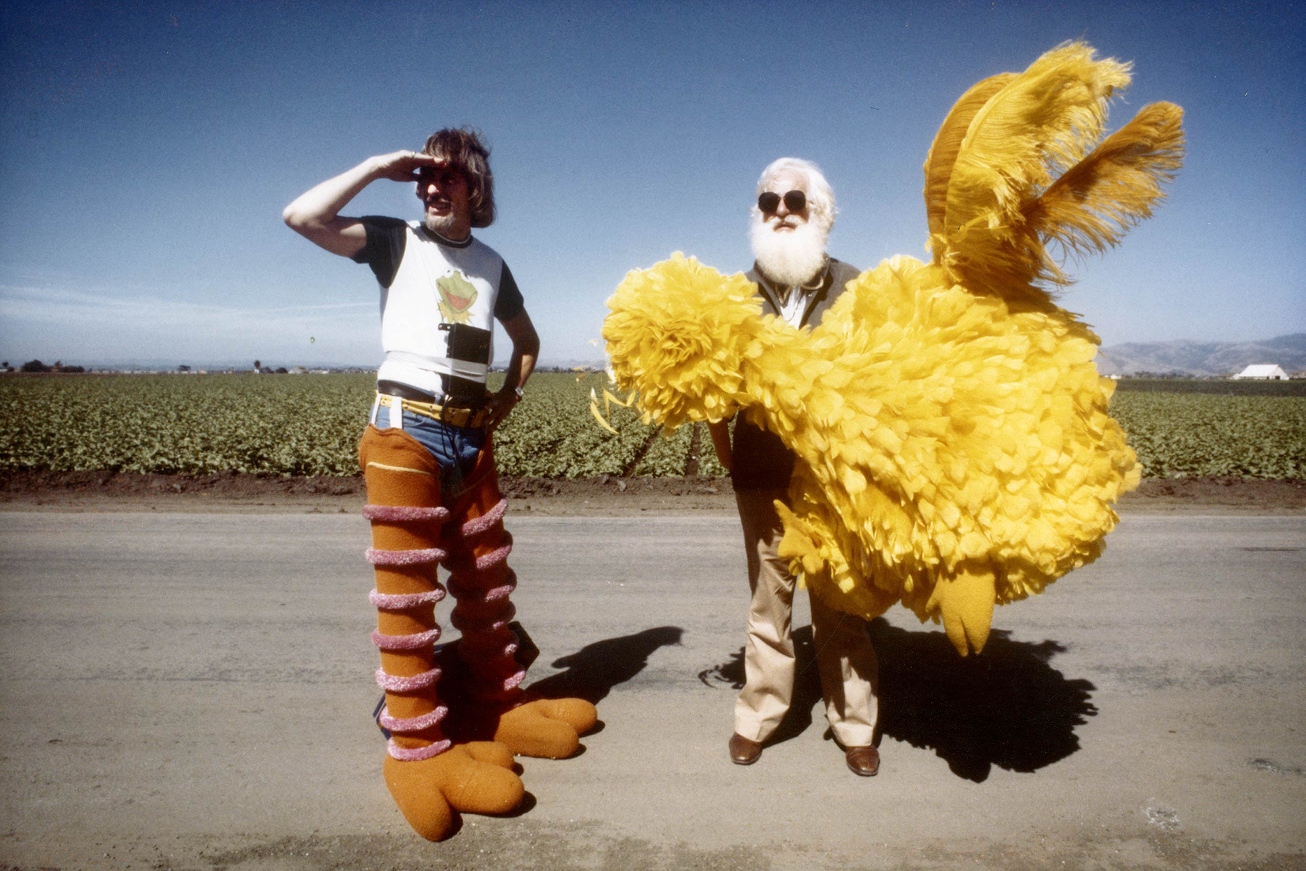 Caroll Spinney takes a break from shooting a cameo in The Muppet Movie.