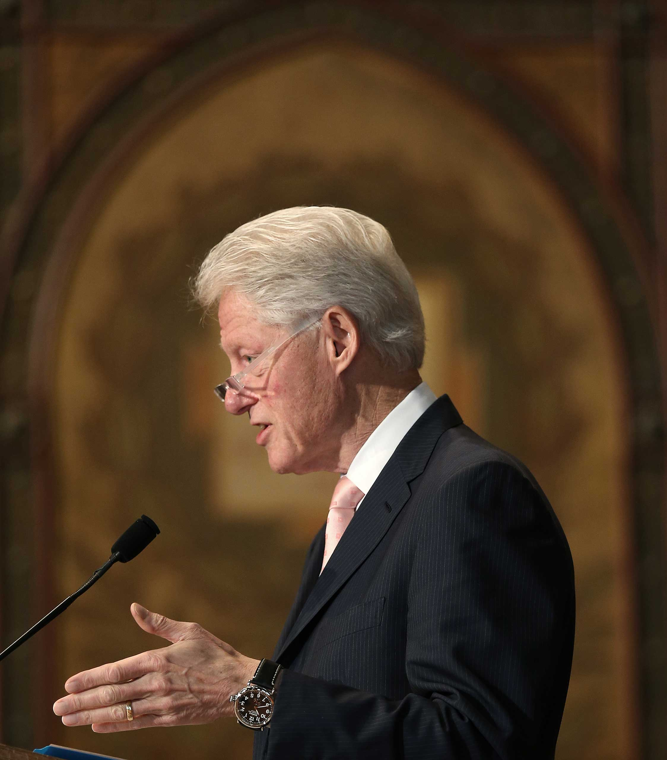 Former U.S. President Bill Clinton speaks at Georgetown University in Washington on April 21, 2015.