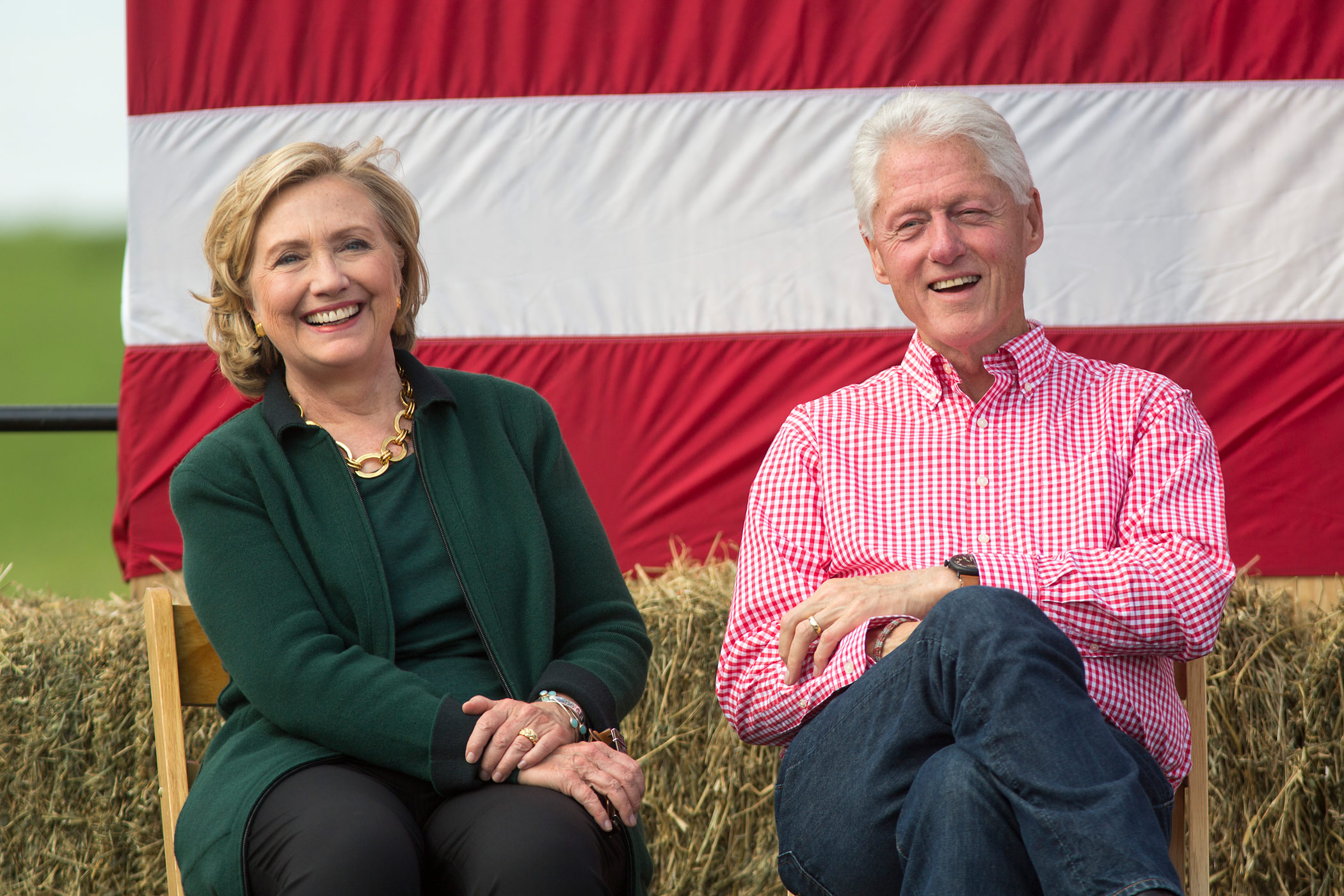 Hillary Clinton attends a Steak Fry in Iowa