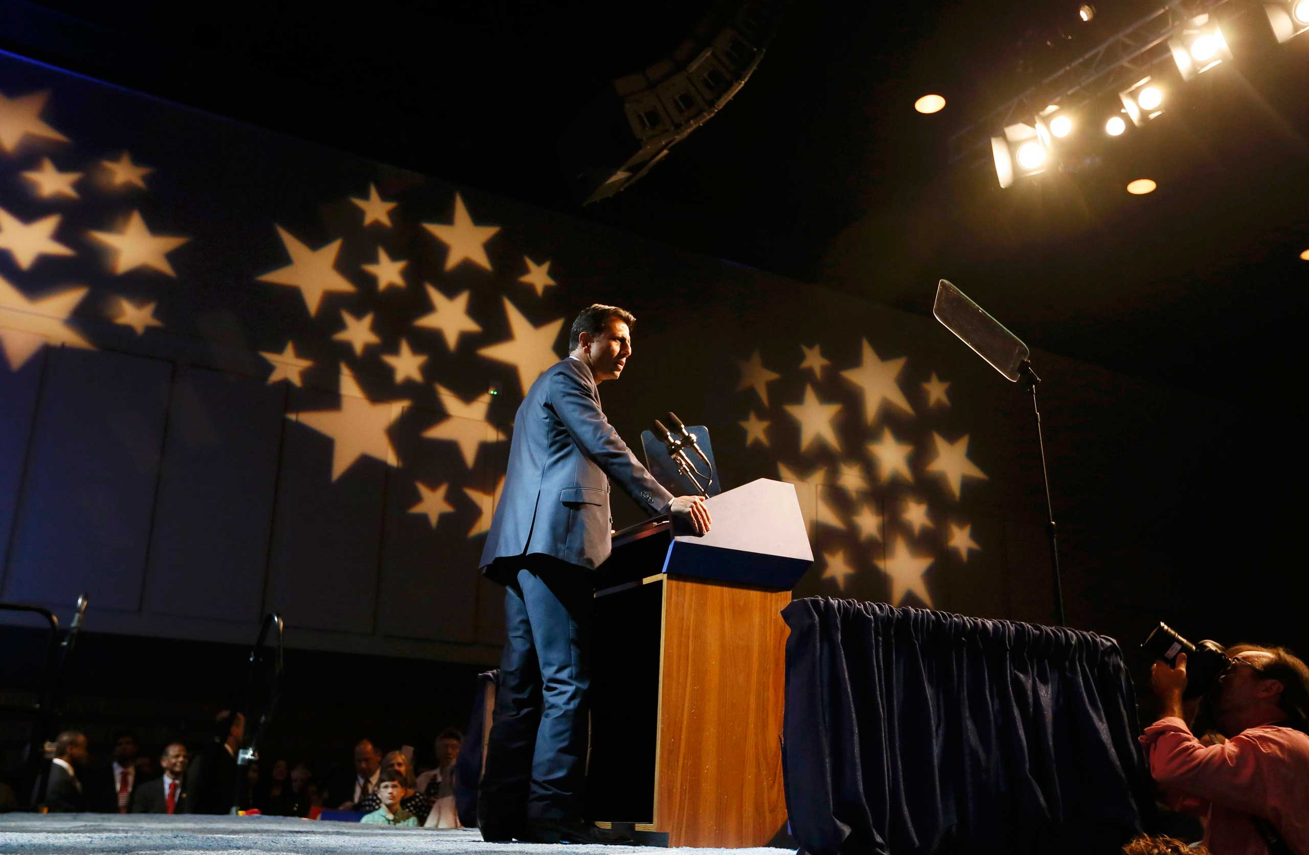 Republican presidential candidate and Louisiana Governor Bobby Jindal formally announces his campaign for the 2016 Republican presidential nomination in Kenner, La. on June 24, 2015.