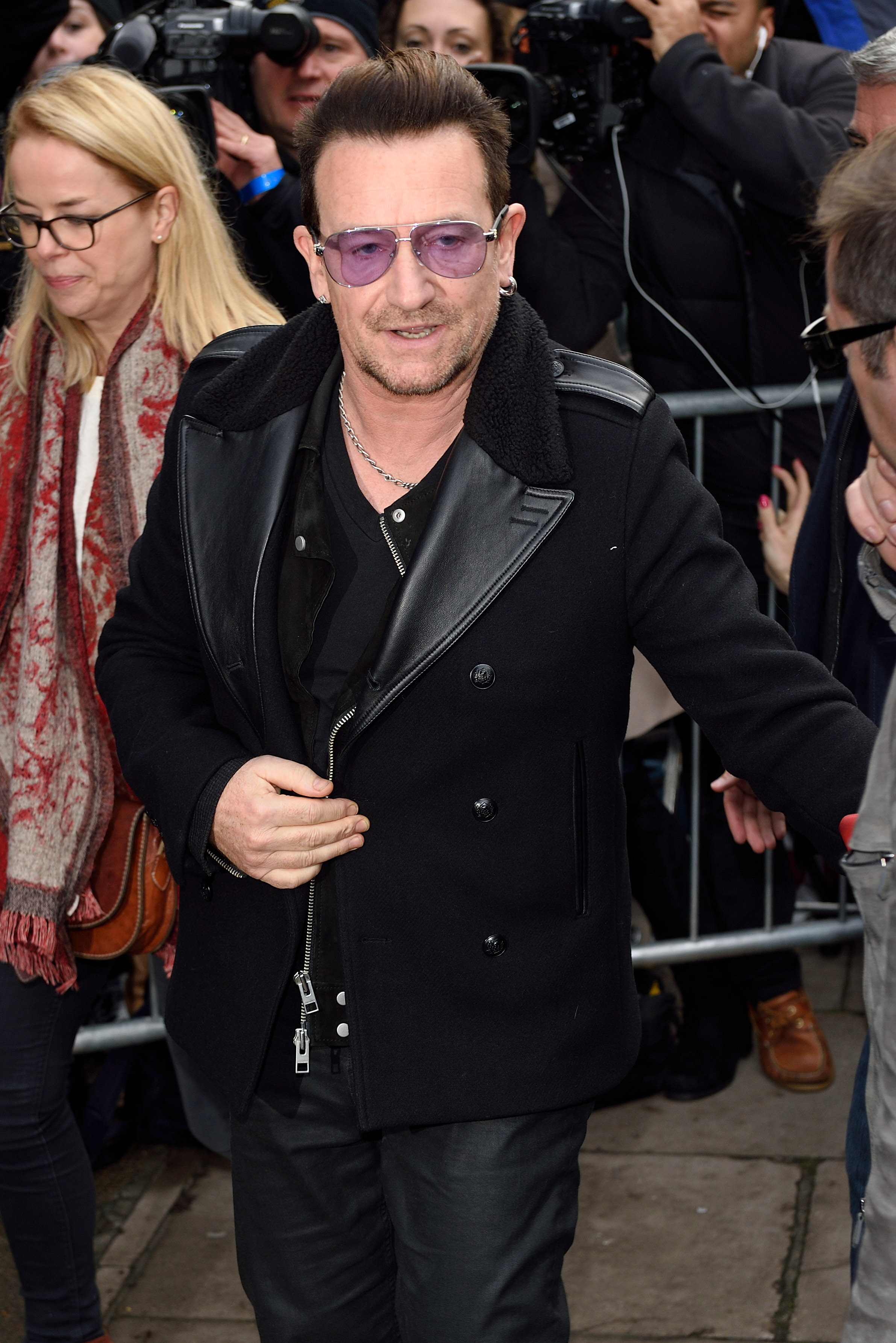 Bono attends to record the Band Aid 30 single on November 15, 2014 in London, England.