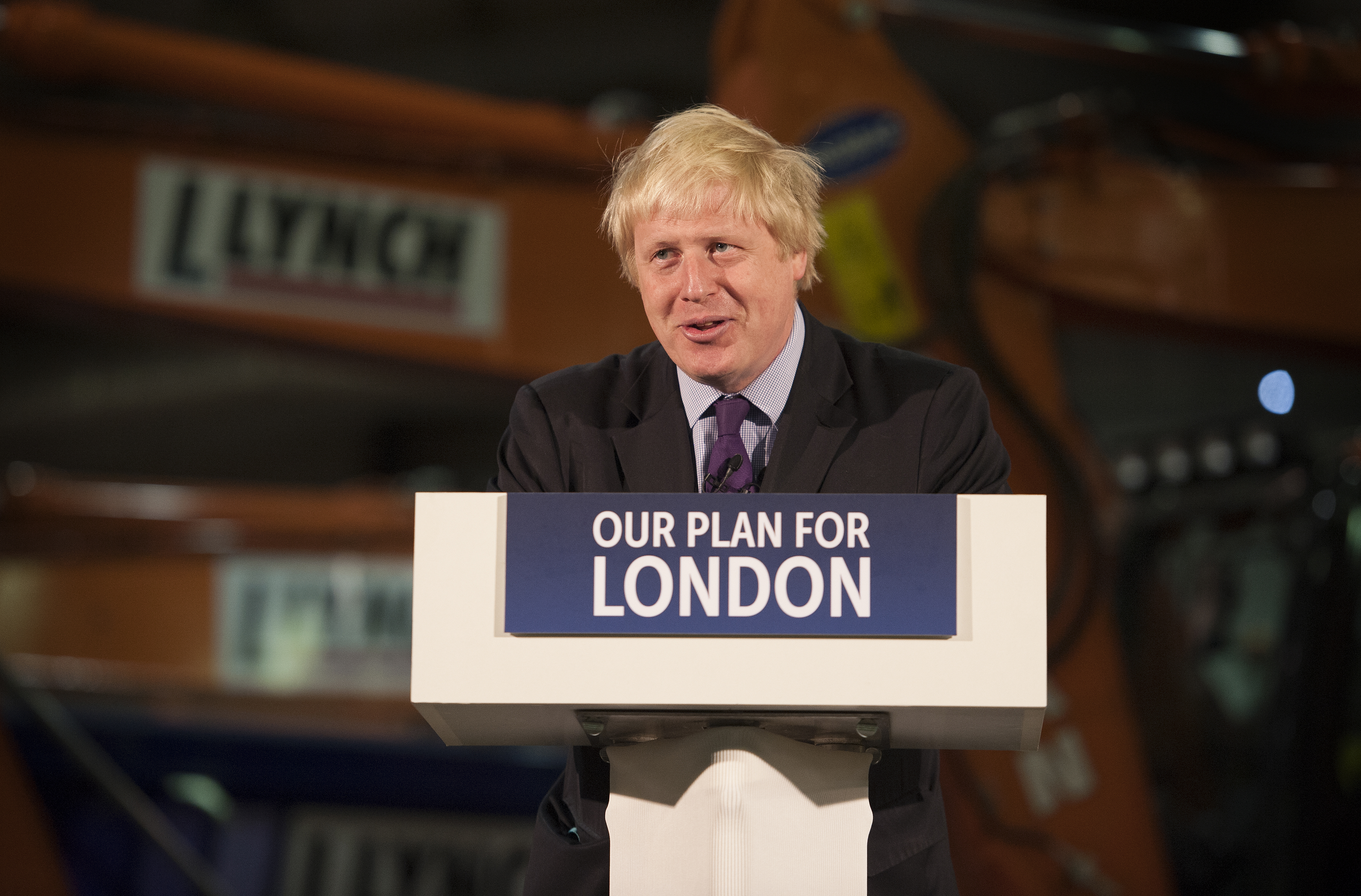 Mayor of London Boris Johnson speaks at Lynch Plant Hire Depot in North West London, on April 24, 2015.