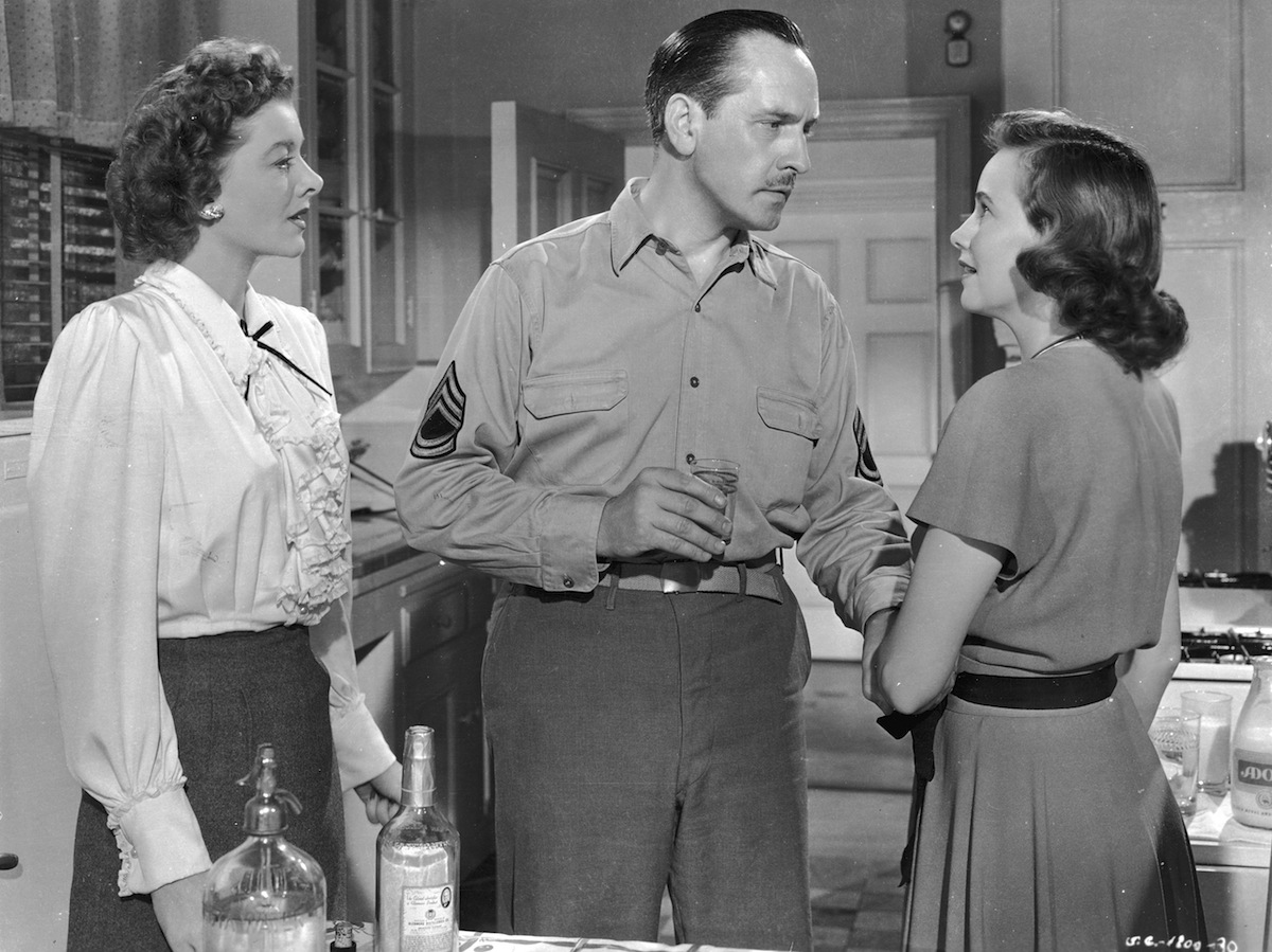 American actors Myrna Loy (left) and Teresa Wright with Fredric March in a still from the film, 'The Best Years of Our Lives,' directed by William Wyler.