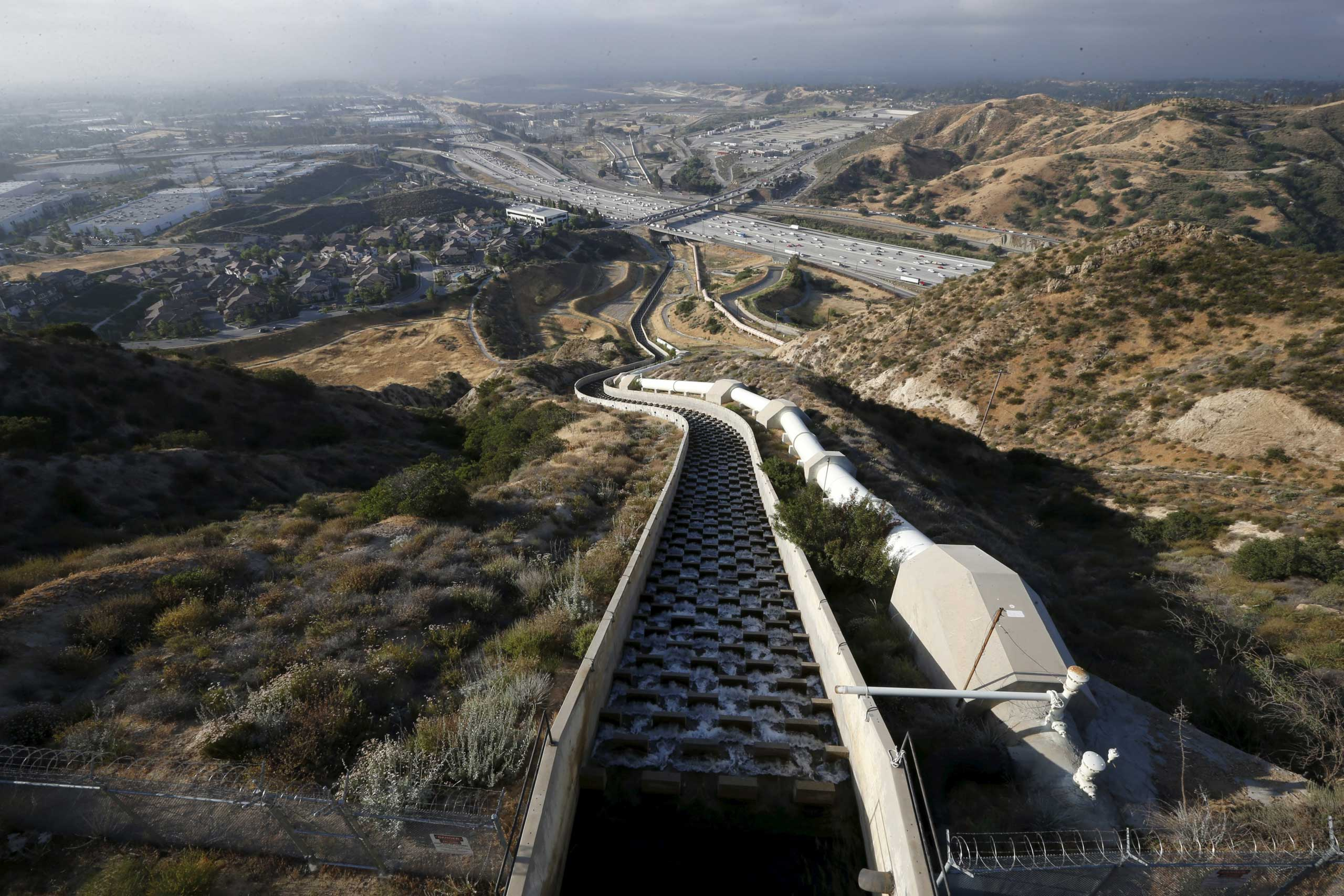The Los Angeles Aqueduct Cascades, which bring water 223 miles from the Owens River in the eastern Sierra Nevada mountains, and 137 miles from the Haiwee Reservoir, are a major source of water for Los Angeles. Seen here in Sylmar, Calif. on May 4, 2015.