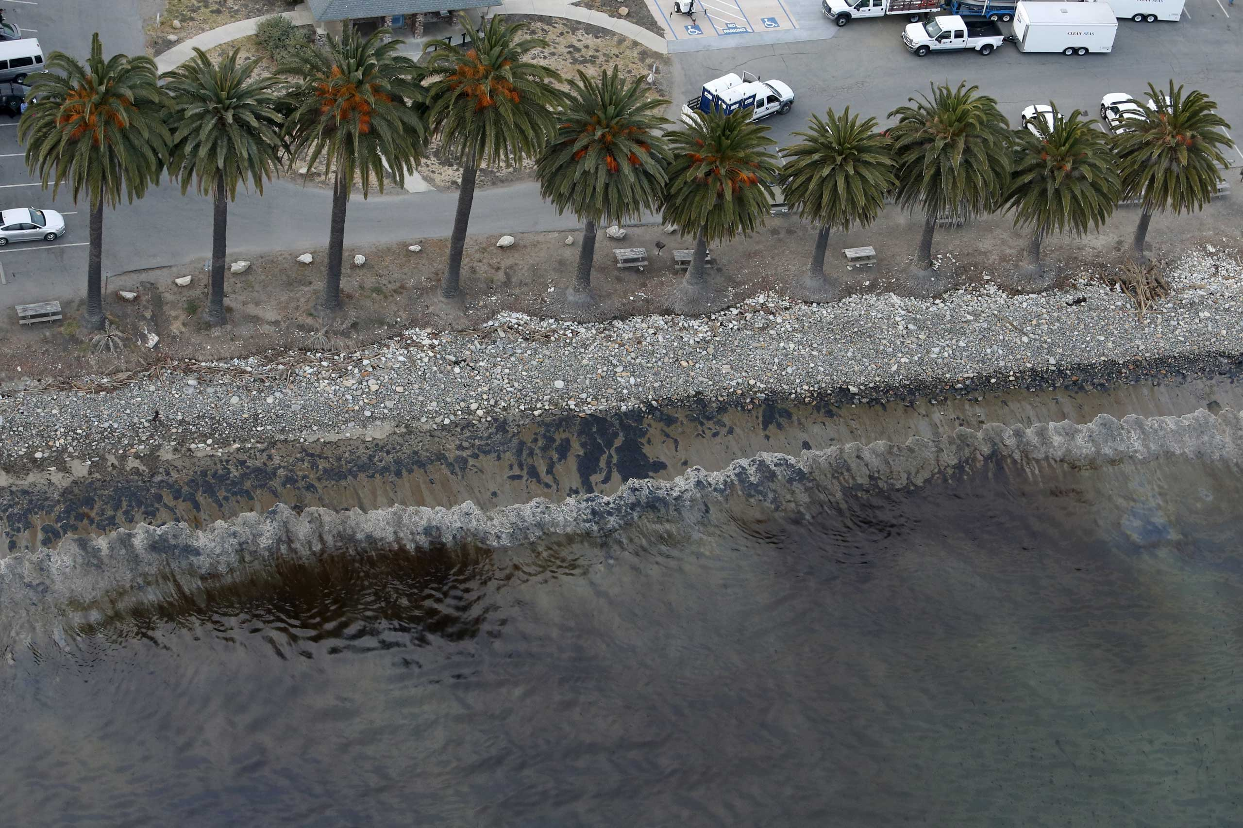 An oil slick is seen along the coast of Refugio State Beach in Goleta, Calif. on May 19, 2015.