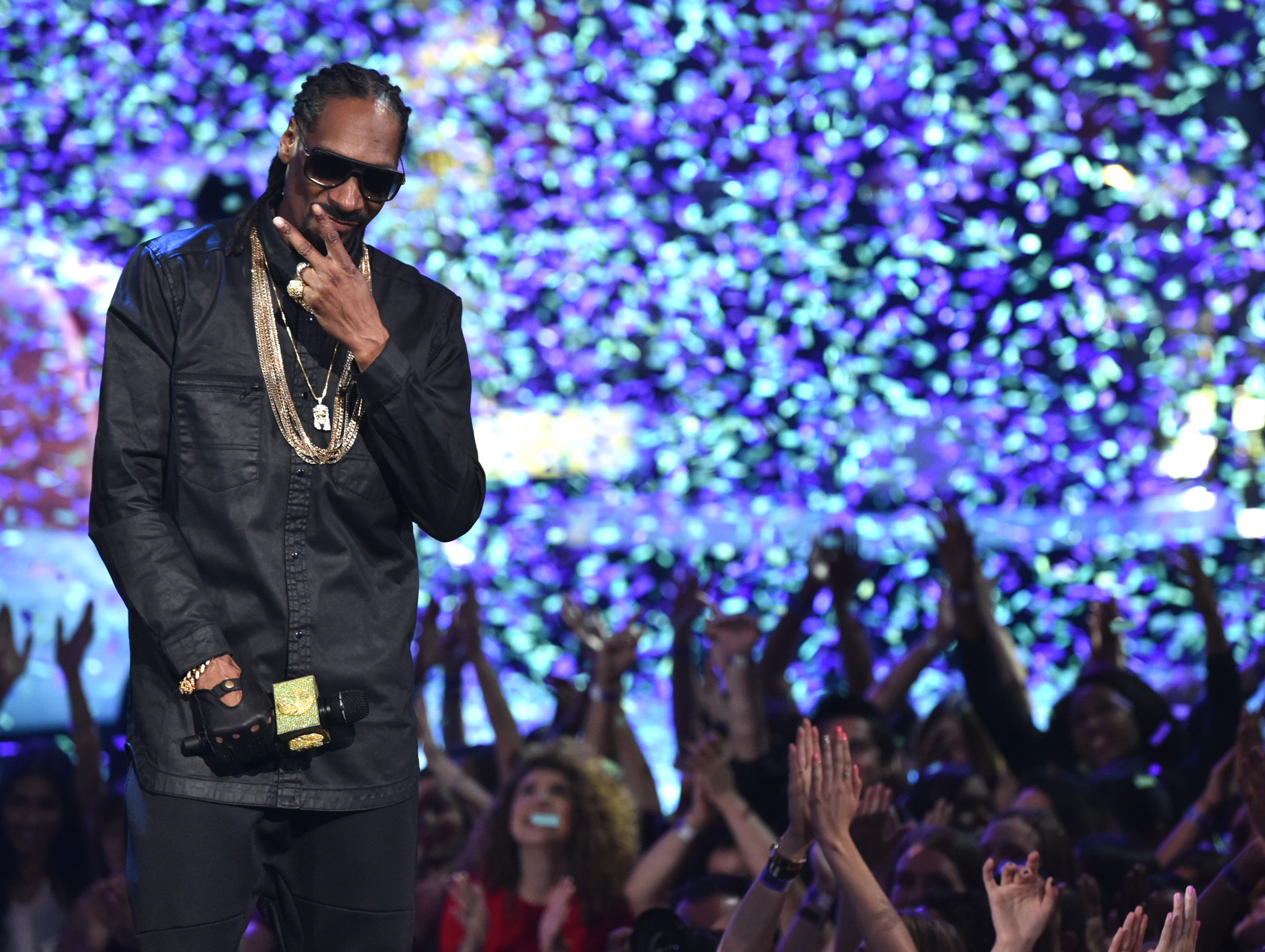 Snoop Dogg performs on stage at the iHeartRadio Music Awards at The Shrine Auditorium on Sunday, March 29, 2015, in Los Angeles.