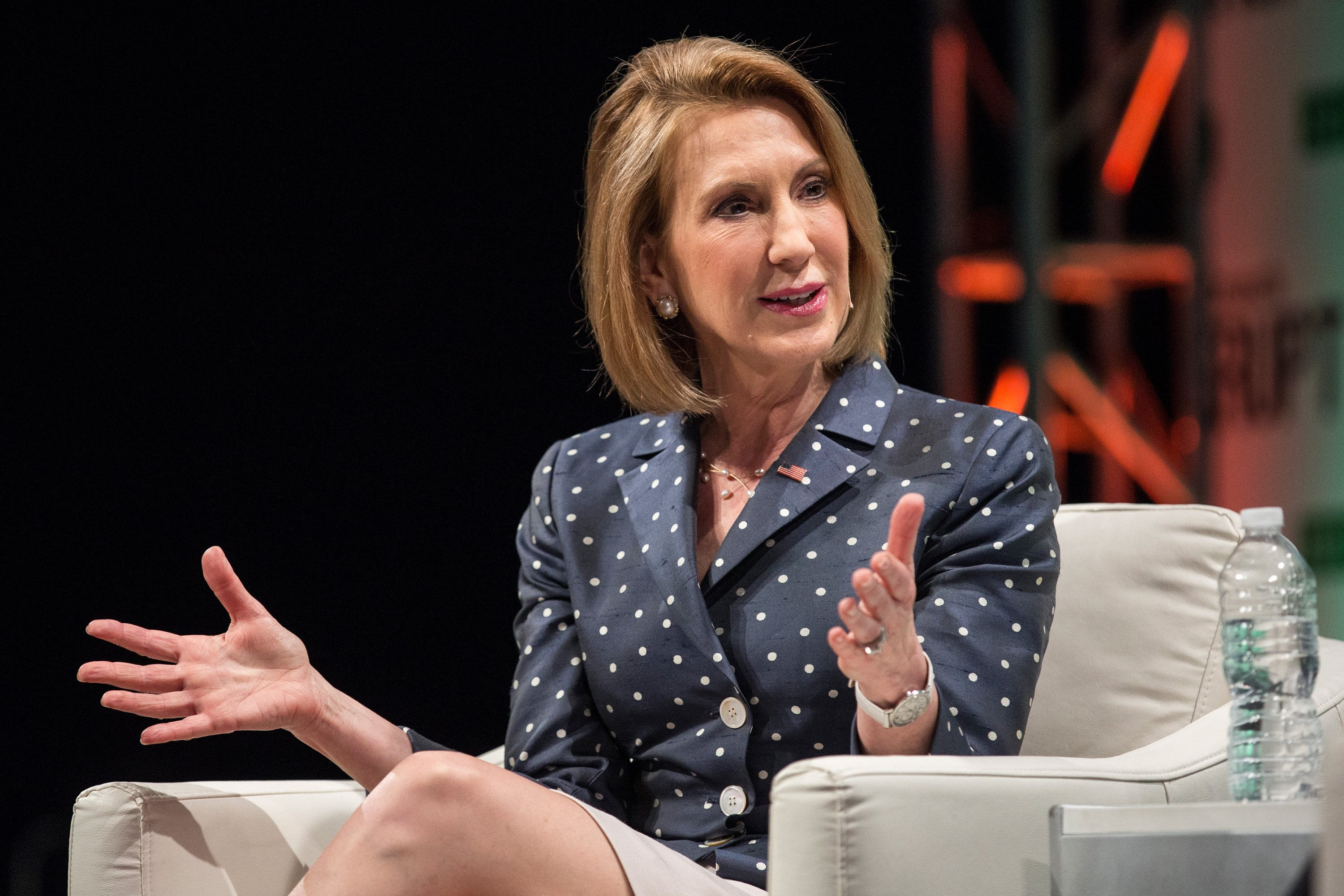 Republican presidential hopeful Carly Fiorina speaks at TechCrunchÕs Disrupt conference on May 5, 2015 in New York City.