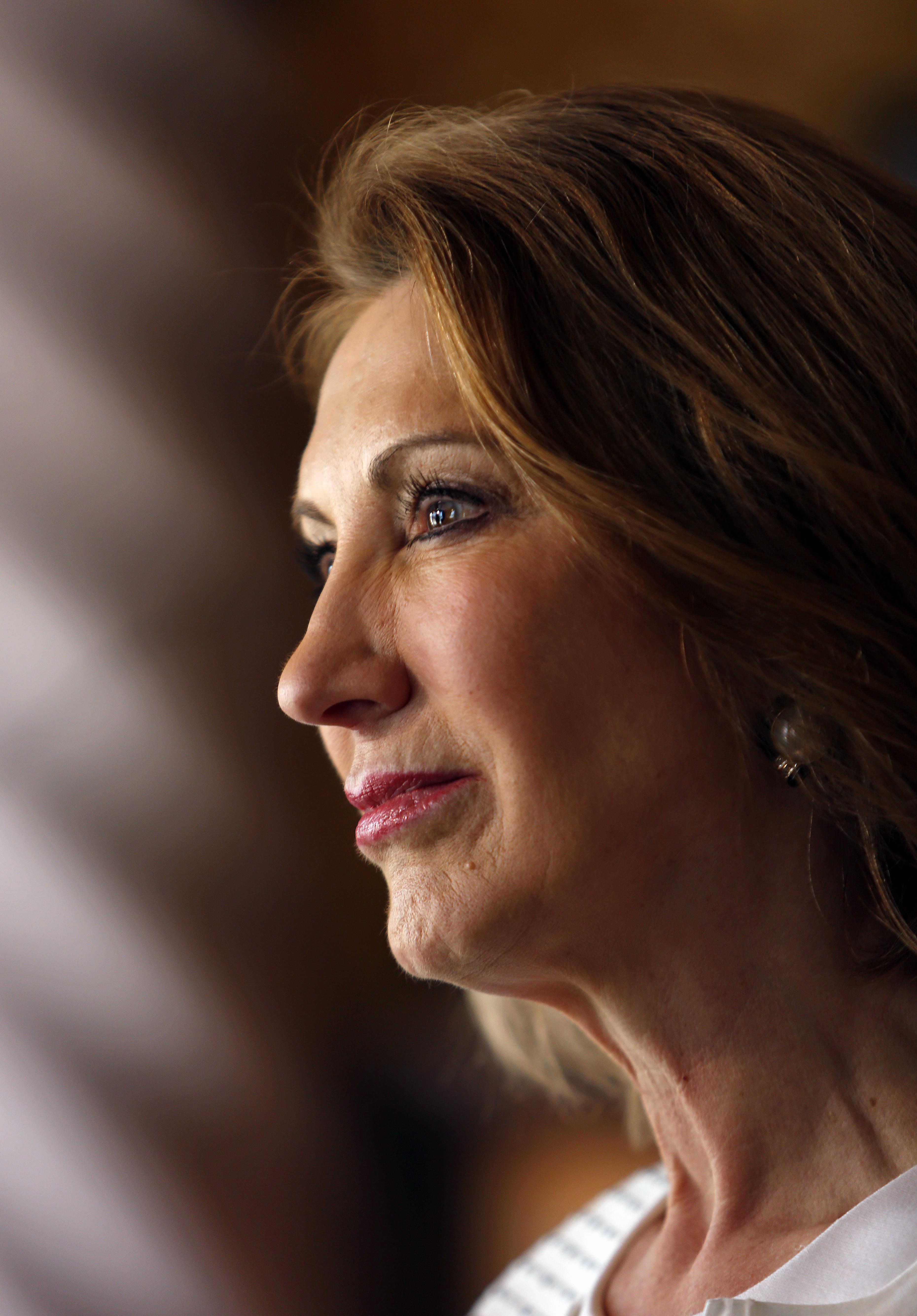 Republican presidential candidate, former Hewlett-Packard  CEO Carly Fiorina is seen at a luncheon hosted by the Derry Republican Town Committee on May 26, 2015, in Derry,NH.