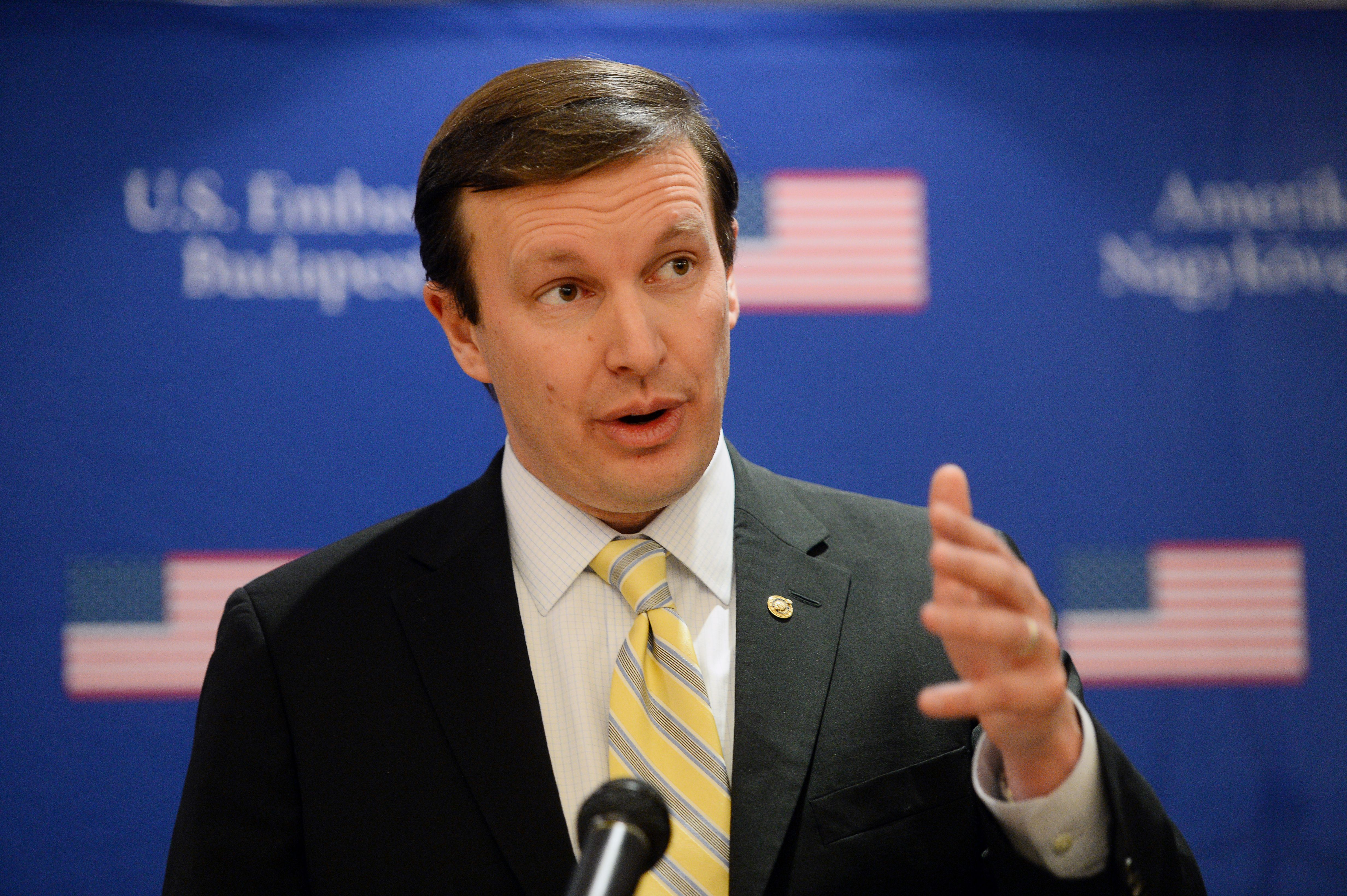 Junior United States Senator from Connecticut Chris Murphy addresses journalists in Budapest on Jan. 31, 2014.