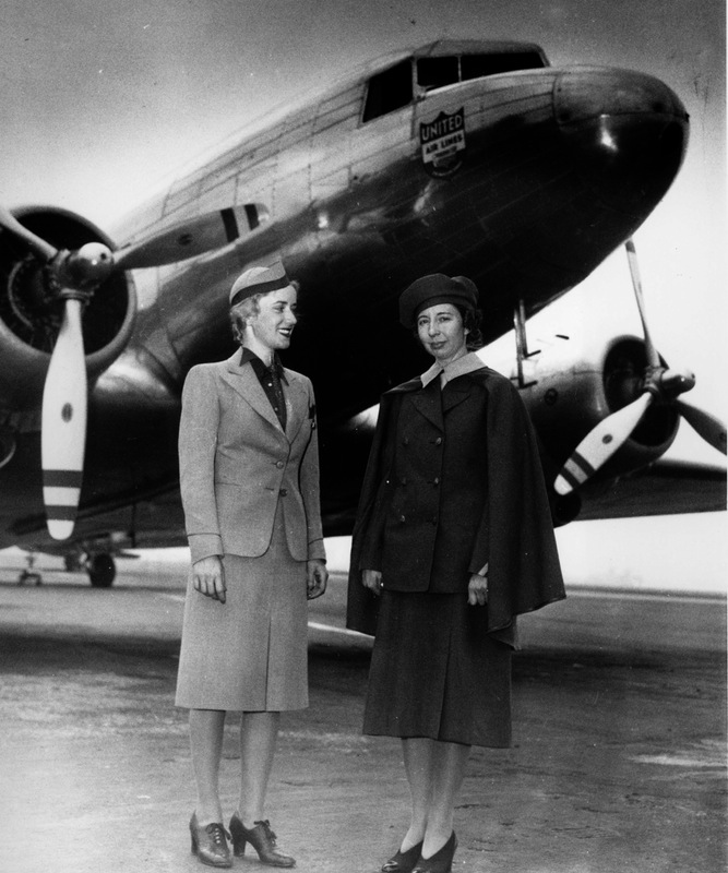 Ellen Church and Virginia Schroeder, another flight attendant, pose in front of a modern 12-ton United Mainliner on May 14, 1940.