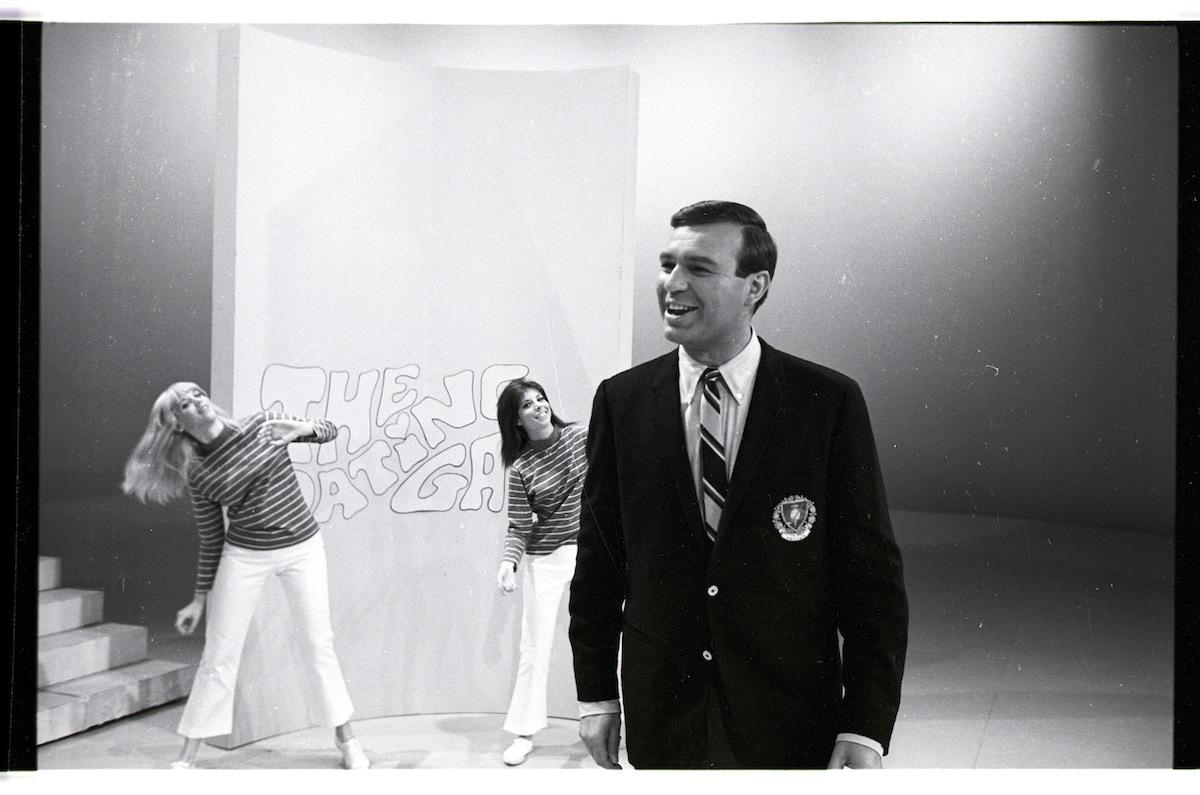 Host Jim Lange with dancers Ellen Friedman and Anita Mann, on the Nov. 19, 1965, premiere of 'The Dating Game'