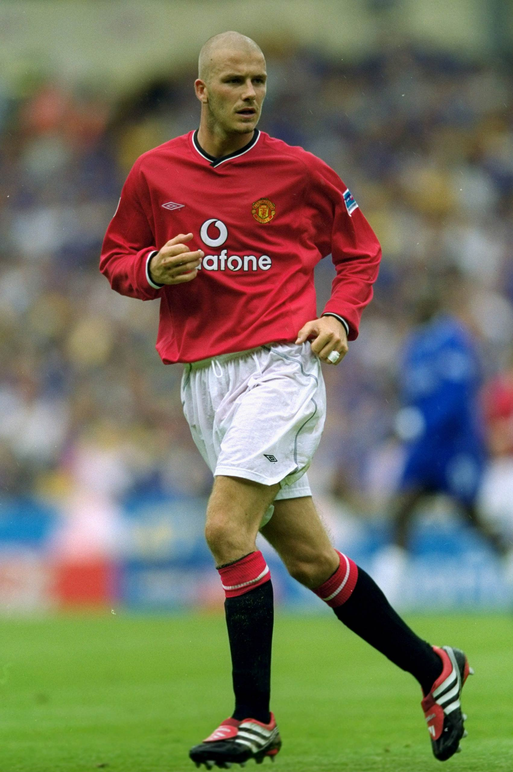 David Beckham of Manchester United during the Charity Shield against Chelsea at Wembley Stadium in London in 2000.
