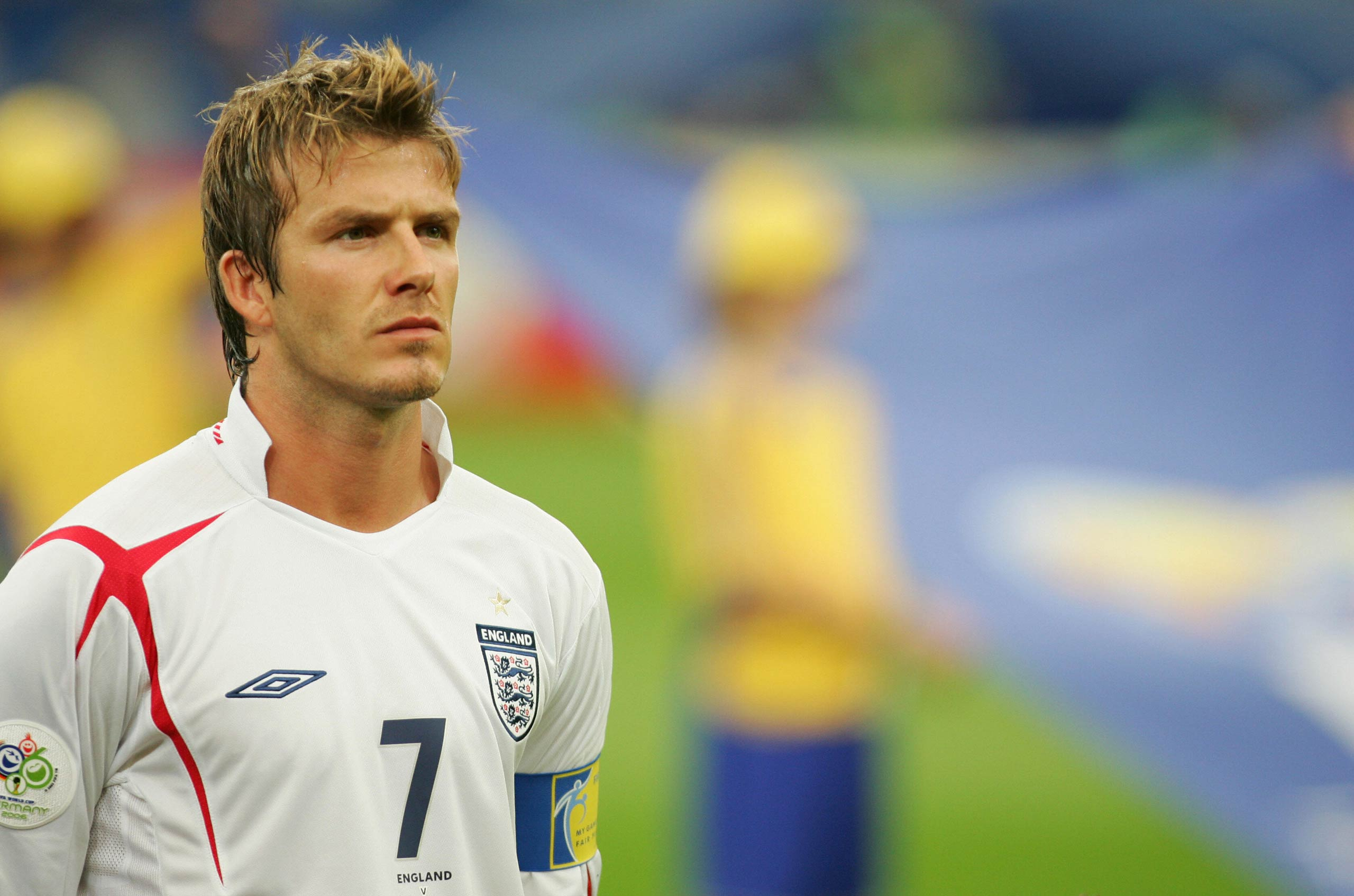 English midfielder and captain David Beckham listens to his national anthem prior to the World Cup 2006 quarter final soccer game between England and Portugal in 2006 at Gelsenkirchen stadium in Gelsenkirchen, Germany.