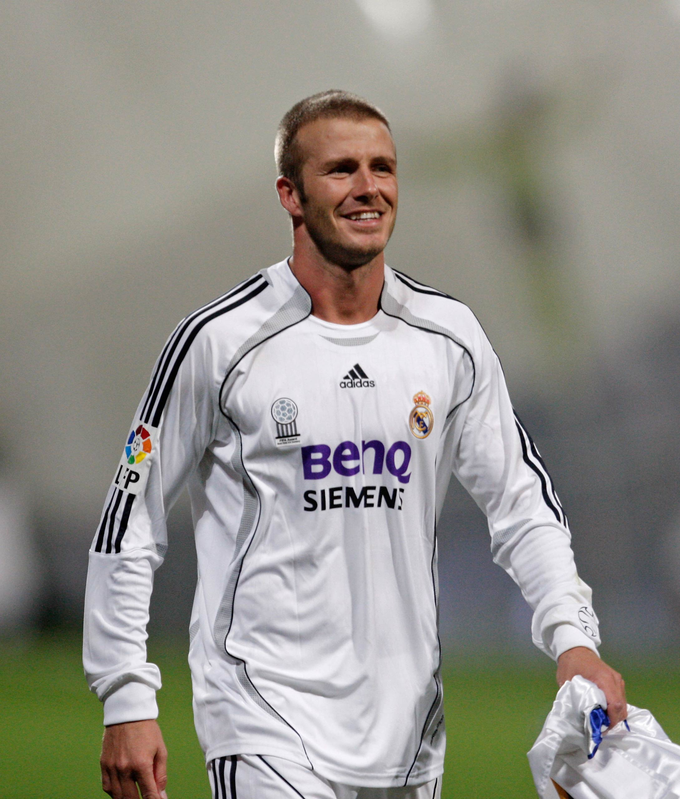 David Beckham of Real Madrid celebrates after Real won the Primera Liga after the match between Real Madrid and Mallorca at the Santiago Bernabeu stadium in Madrid, Spain in 2007.