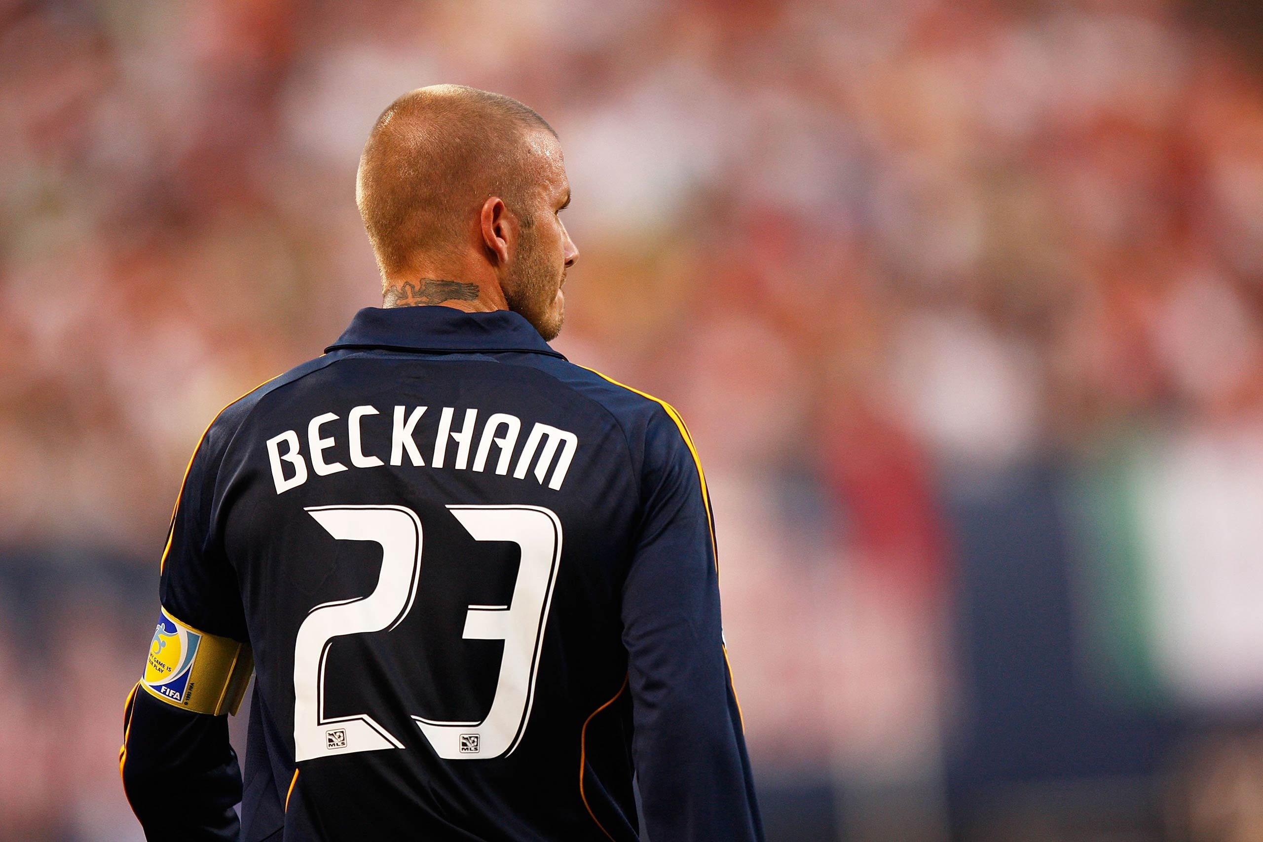 David Beckham of the LA Galaxy plays against the New York Red Bulls at Giants Stadium in the Meadowlands in East Rutherford, NJ in 2008.