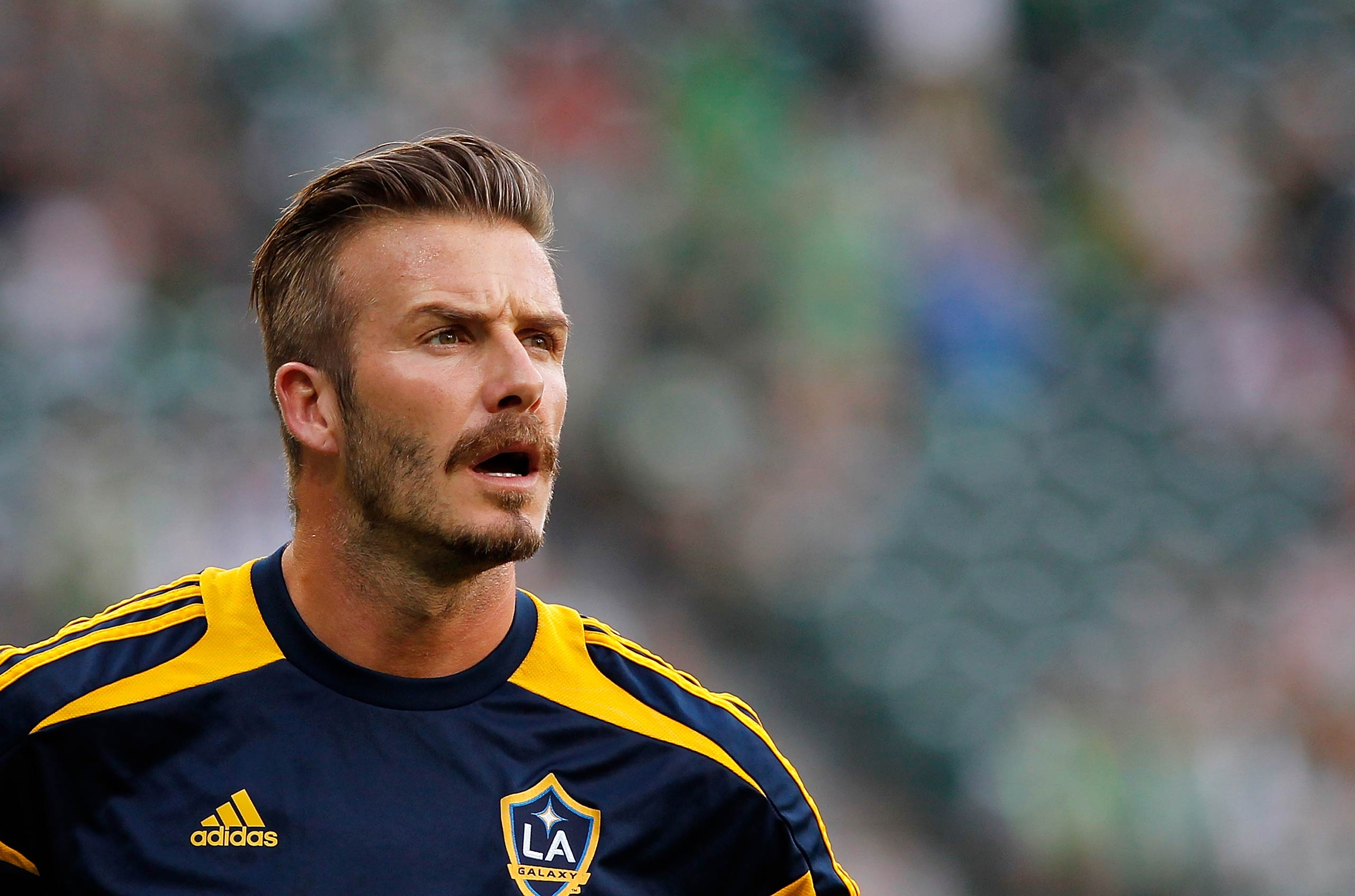 David Beckham of the Los Angeles Galaxy is seen during the pregame warmup against  the Portland Timbers at Jeld-Wen Field in Portland, Ore. in 2012.