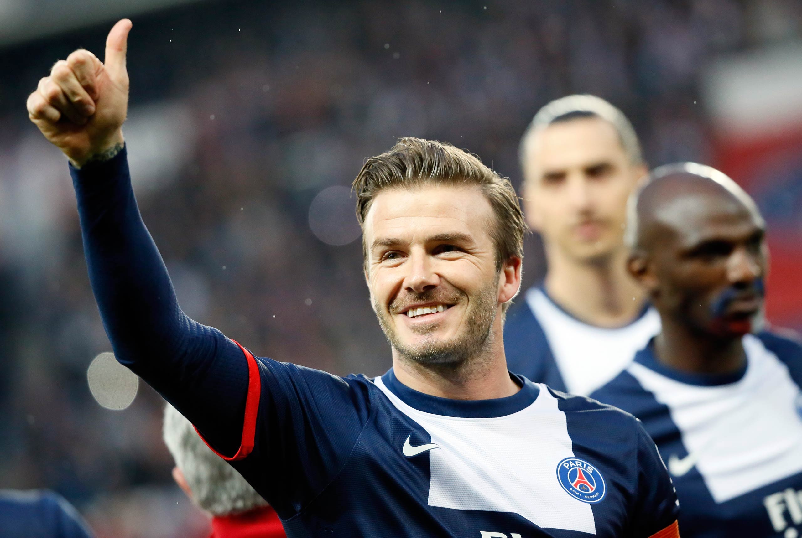 Paris Saint-Germain's English midfielder David Beckham is seen during his final soccer game, a French L1 soccer match between Paris St. Germain and Brest at Parc des Princes stadium in Paris in 2013.