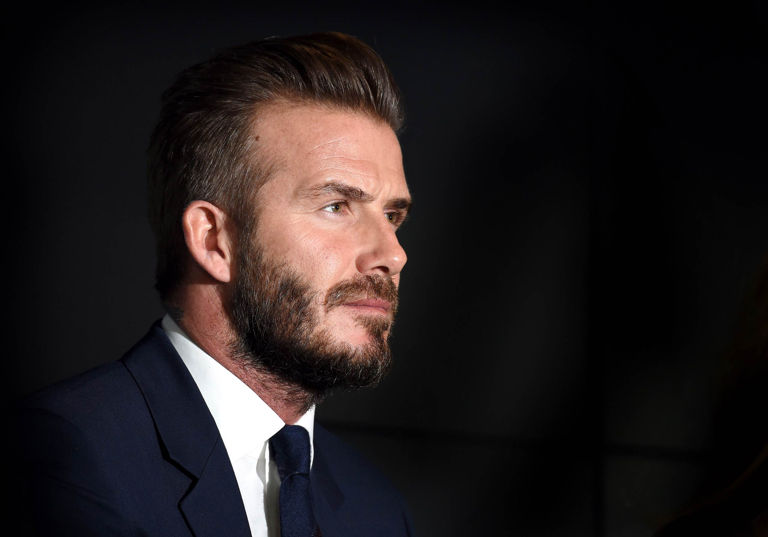 David Beckham attends a photocall as he celebrates 10 years as a UNICEF goodwill ambassado on Feb. 9, 2015 in London.