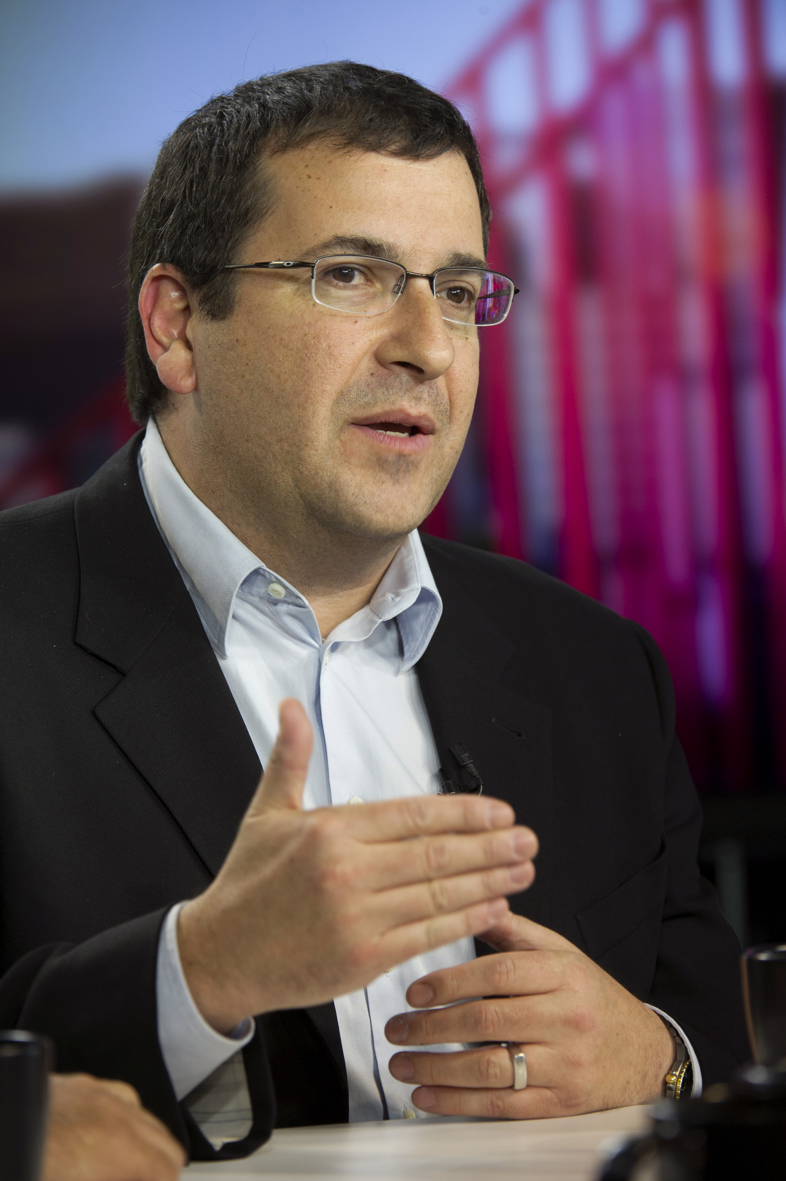 David  Dave  Goldberg, chief executive officer of SurveyMonkey.com LLC, speaks during a Bloomberg West Television interview in San Francisco, on May 27, 2014.