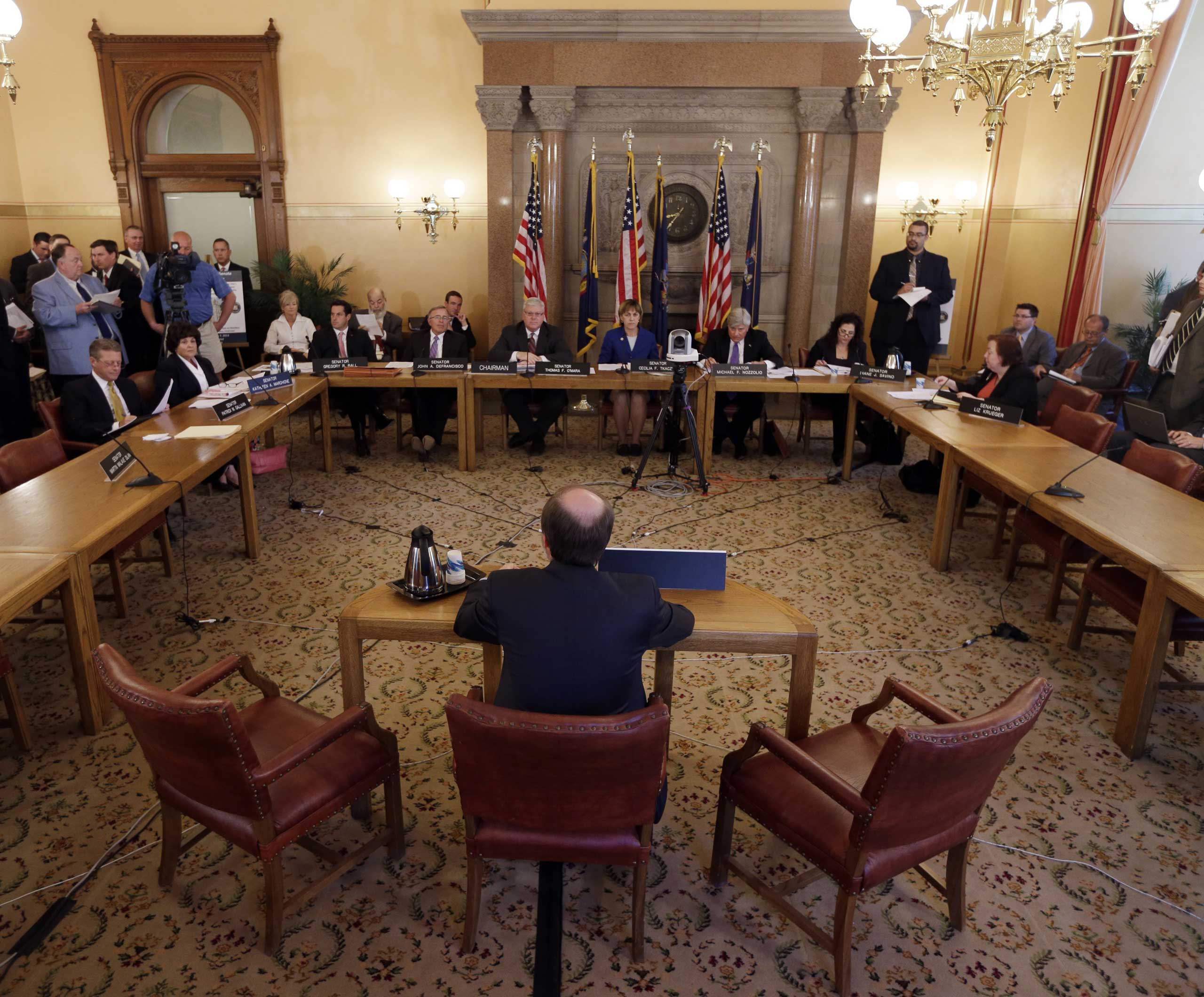 David Keating of the Center for Competitive Politics testifies during a Senate hearing highlighting abuses in the public financing of campaigns on May 7, 2013, in Albany, N.Y.
