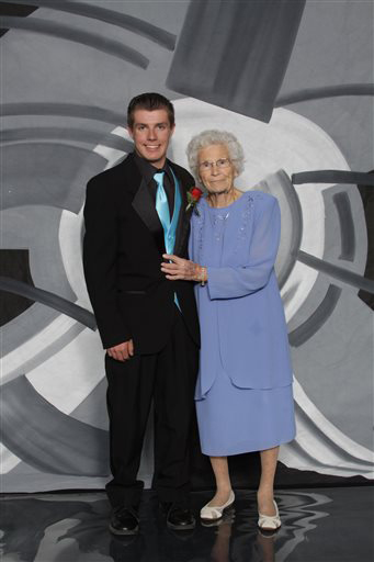 Drew Holm and his great-grandmother Kathryn Keith in their prom picture.