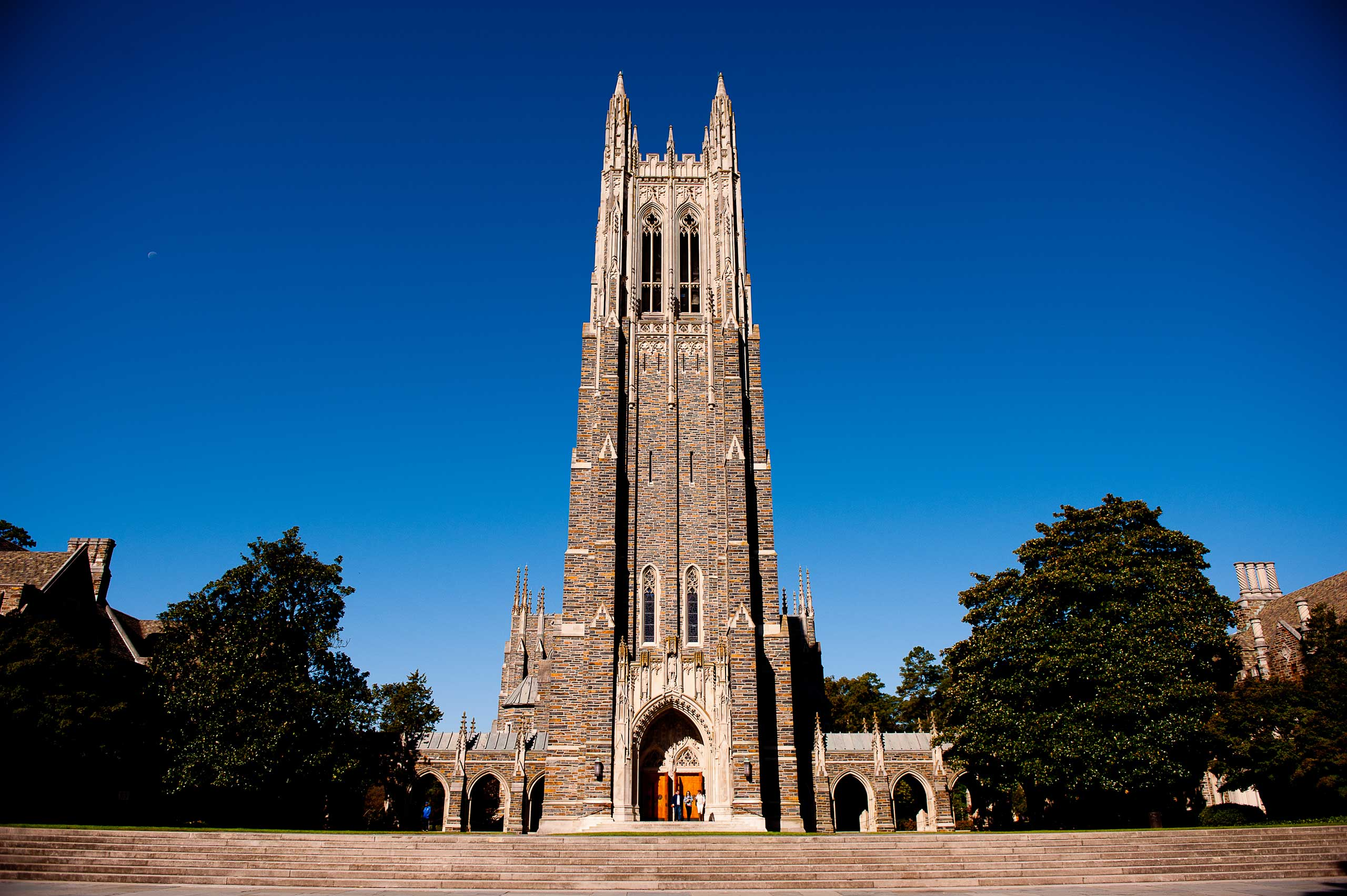 A general view of the Duke University Chapel on campus of Duke University in Durham, N.C.
