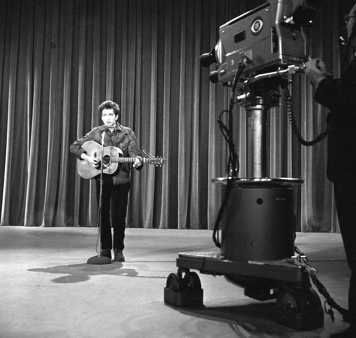 Bob Dylan during rehearsals for the Ed Sullivan Show on May 12, 1963