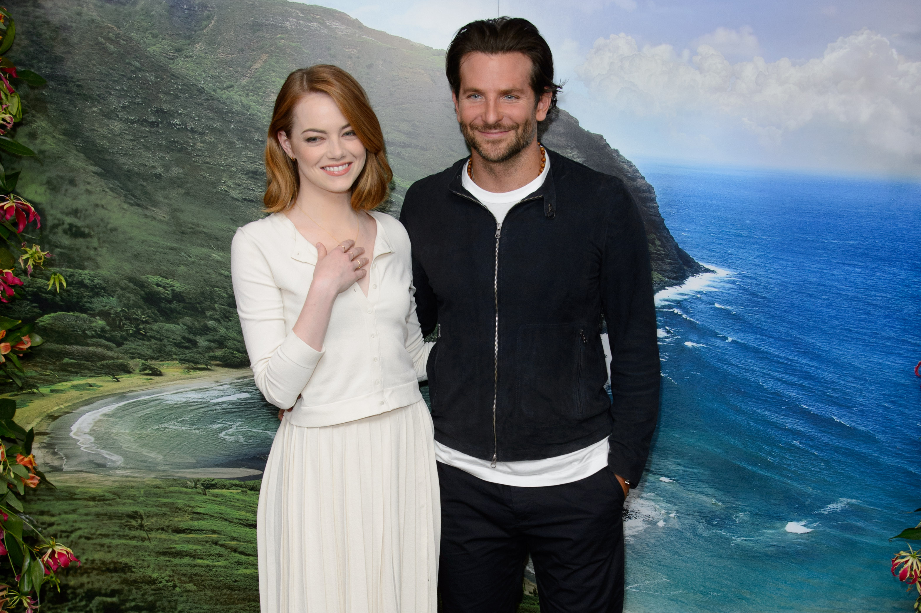 U.S actress Emma Stone and U.S actor Bradley Cooper pose for photographers at a photocall for Aloha at a central London venue, on May 16, 2015.