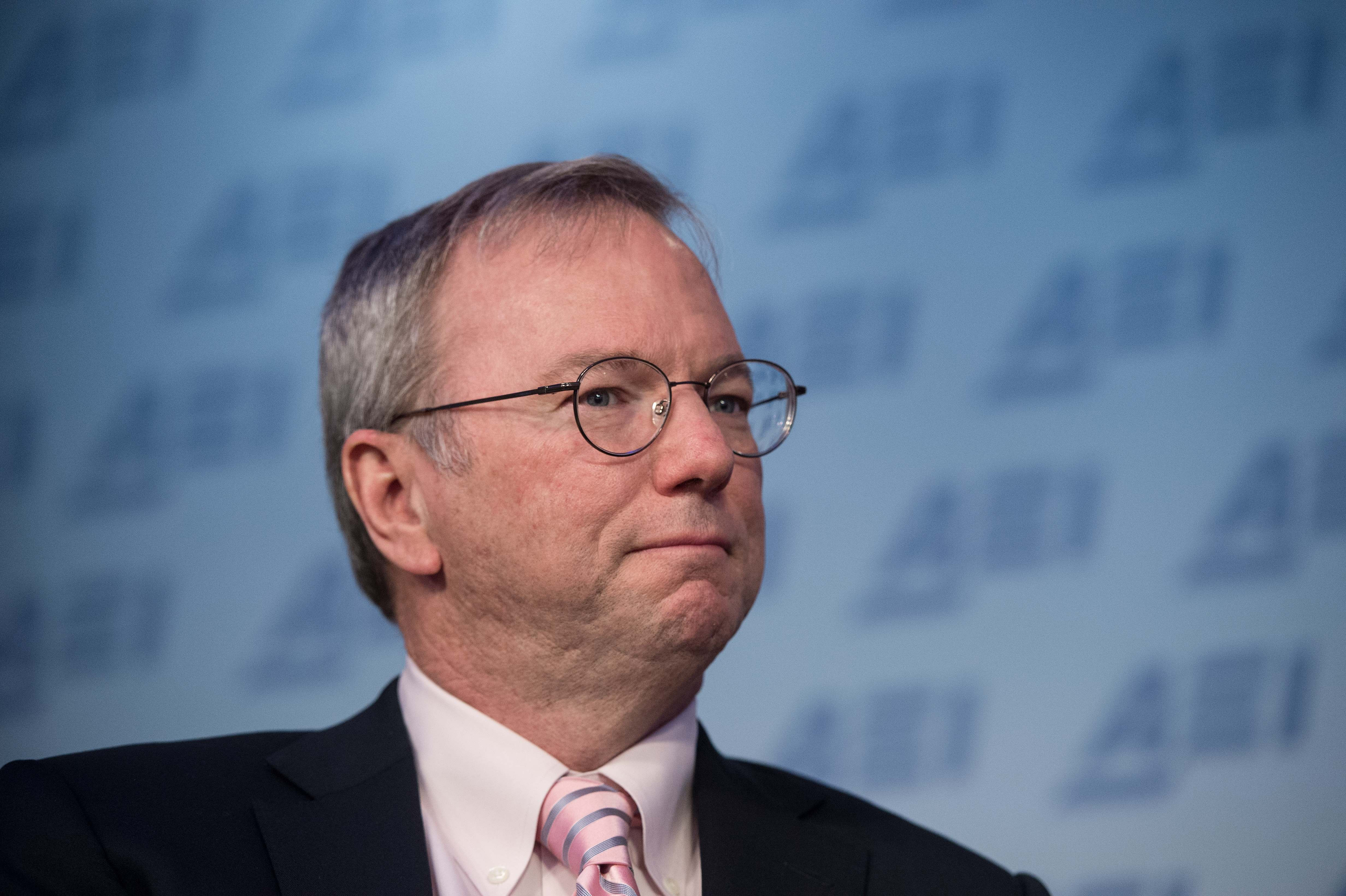Google executive chairman Eric Schmidt speaks on technology on March 18, 2015 at the American Enterprise Institute in Washington, DC.