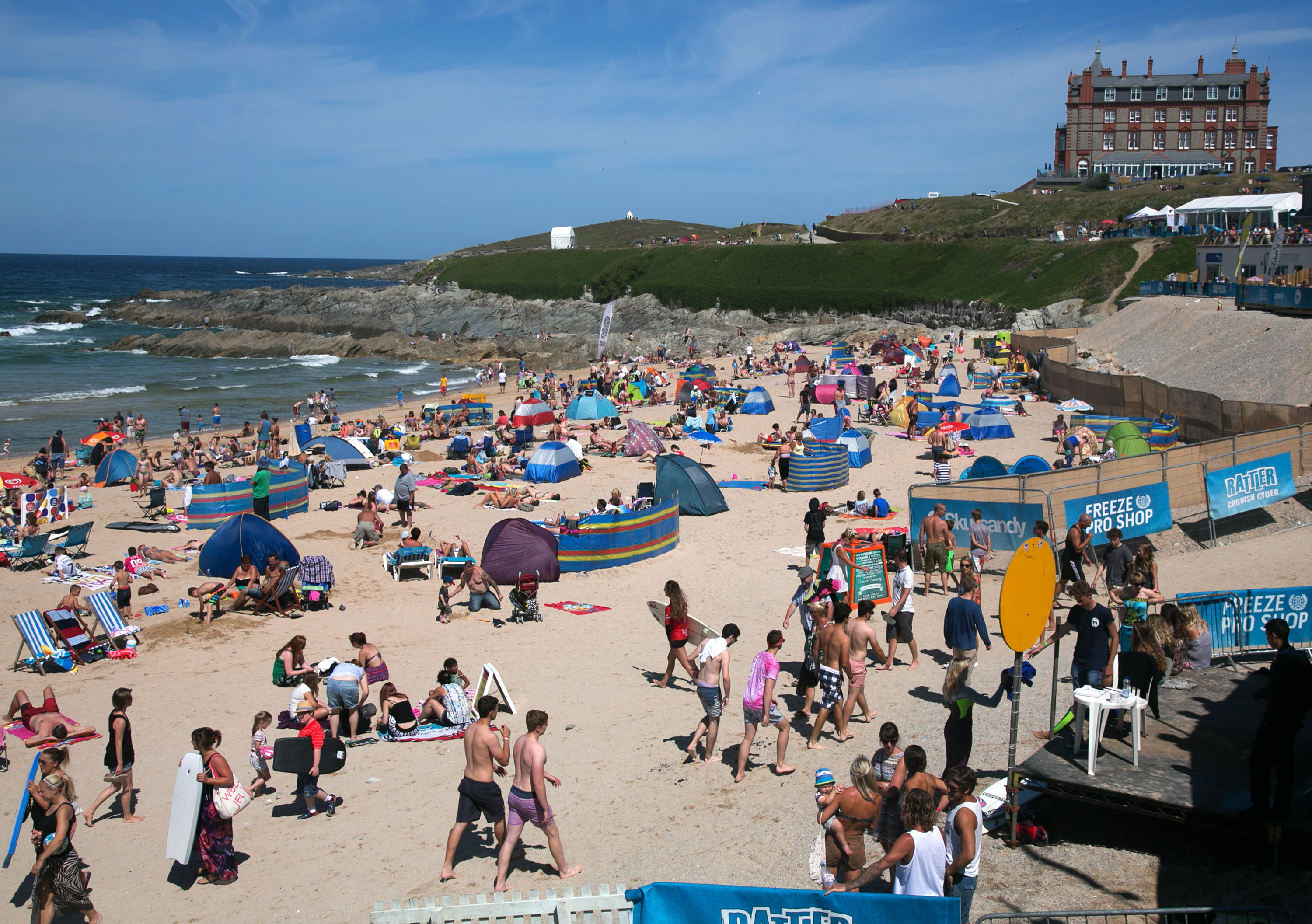Crowds gather on Fistral Beach on the second day of the Boardmasters surf and music festival in Newquay on August 7, 2014 in Cornwall, England.