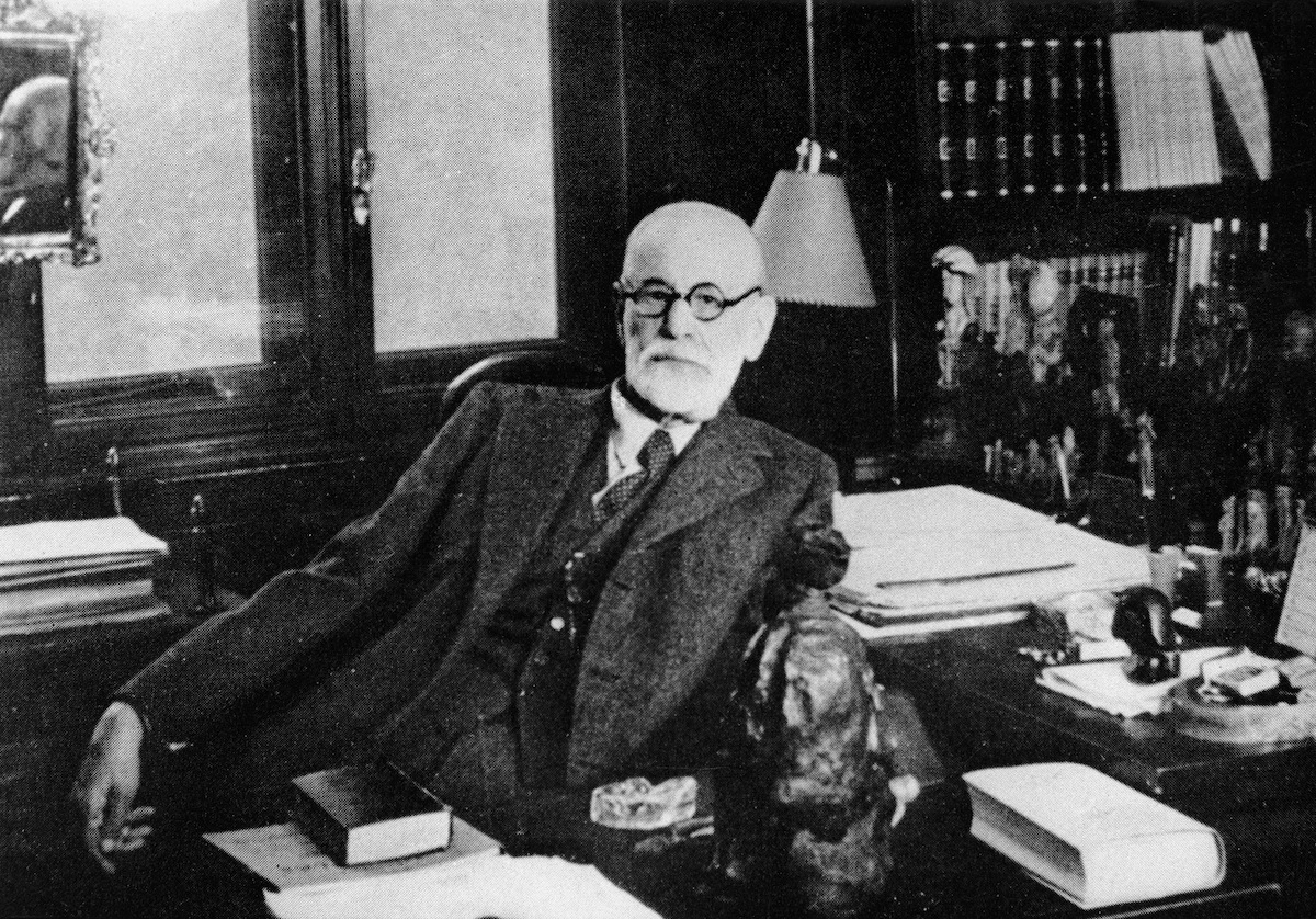 Portrait of  Sigmund Freud (1856 - 1939)  in his study in Vienna, in the 1930s.